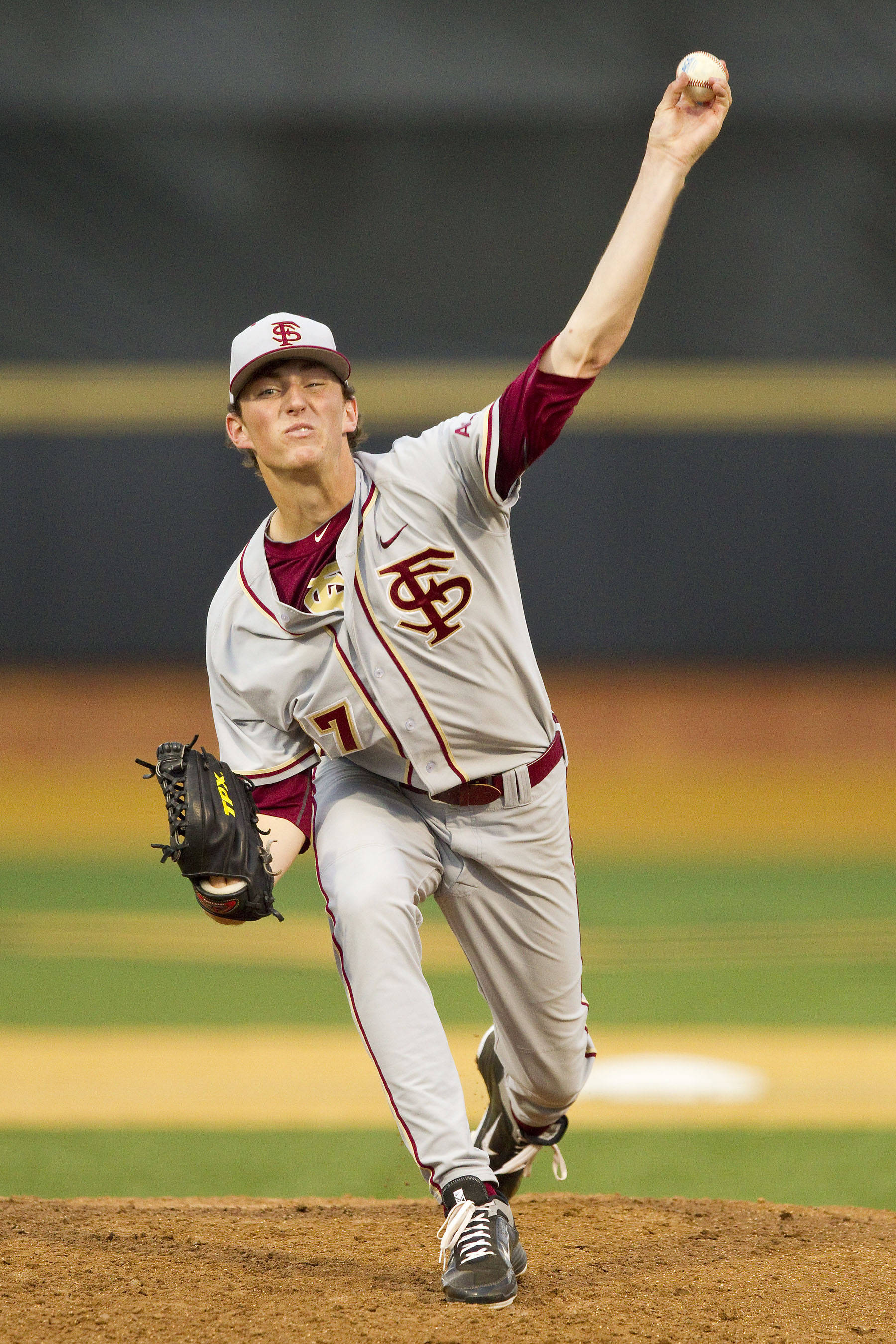 Florida State Seminoles starting pitcher Brandon Leibrandt #37 in action against the Wake Forest Demon Deacons at Wake Forest Baseball Park on March 23, 2012 in Winston-Salem, North Carolina.  (Brian Westerholt/Four Seam Images)