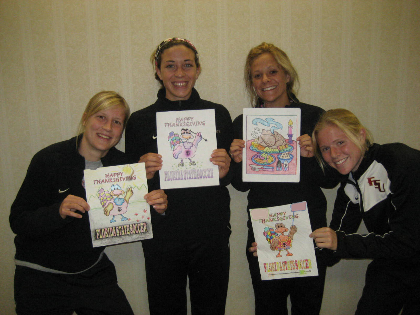 The winners of the Thanksgiving Coloring Contest. (L to R): Sanna Talonen, Erika Sutton, Sarah Wagenfuhr and Lauren Switzer.