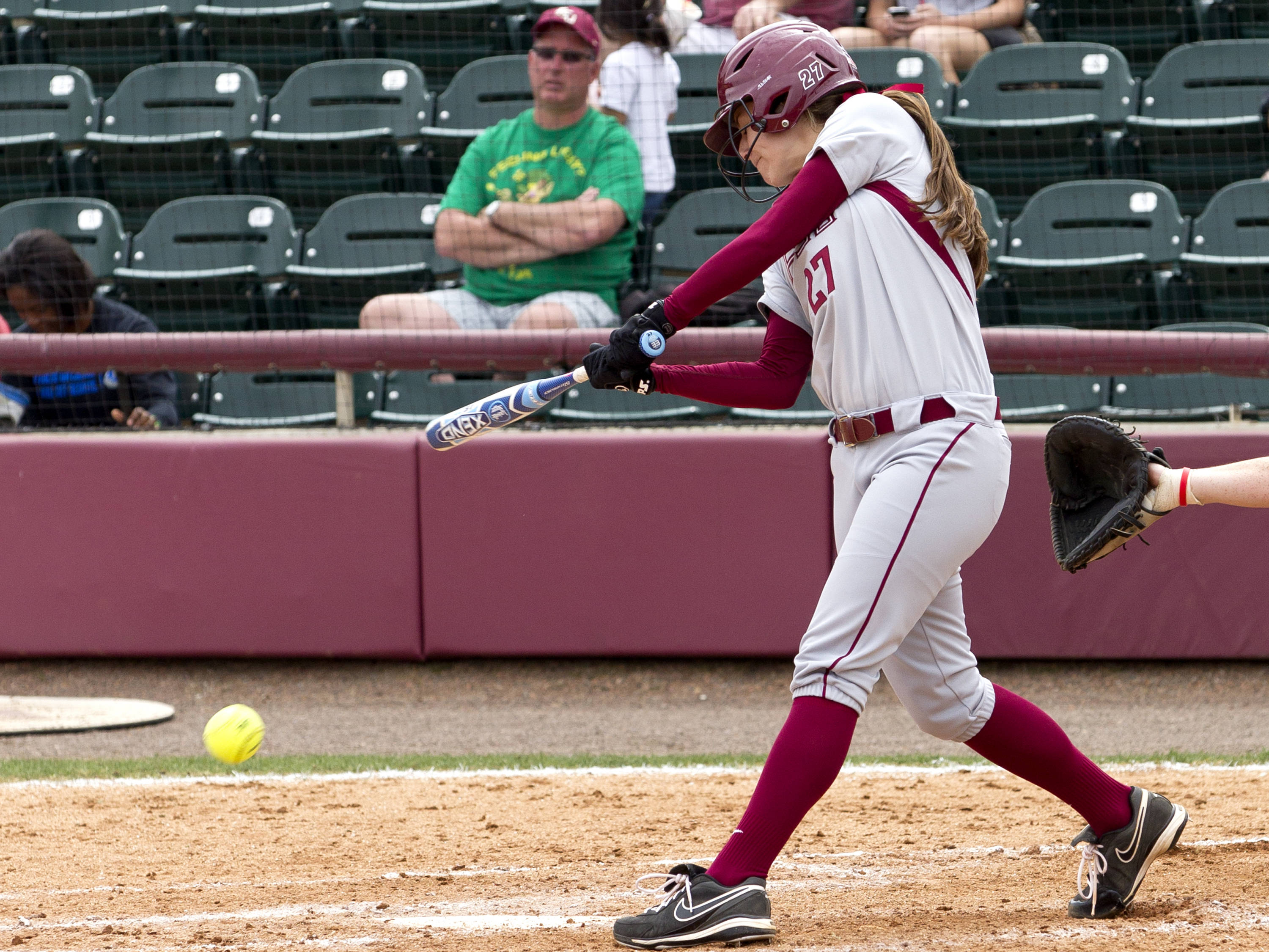 Bailey Schinella (27) with a pinch hit 2-run hit, FSU vs Minnesota, 03/17/13. (Photo by Steve Musco)