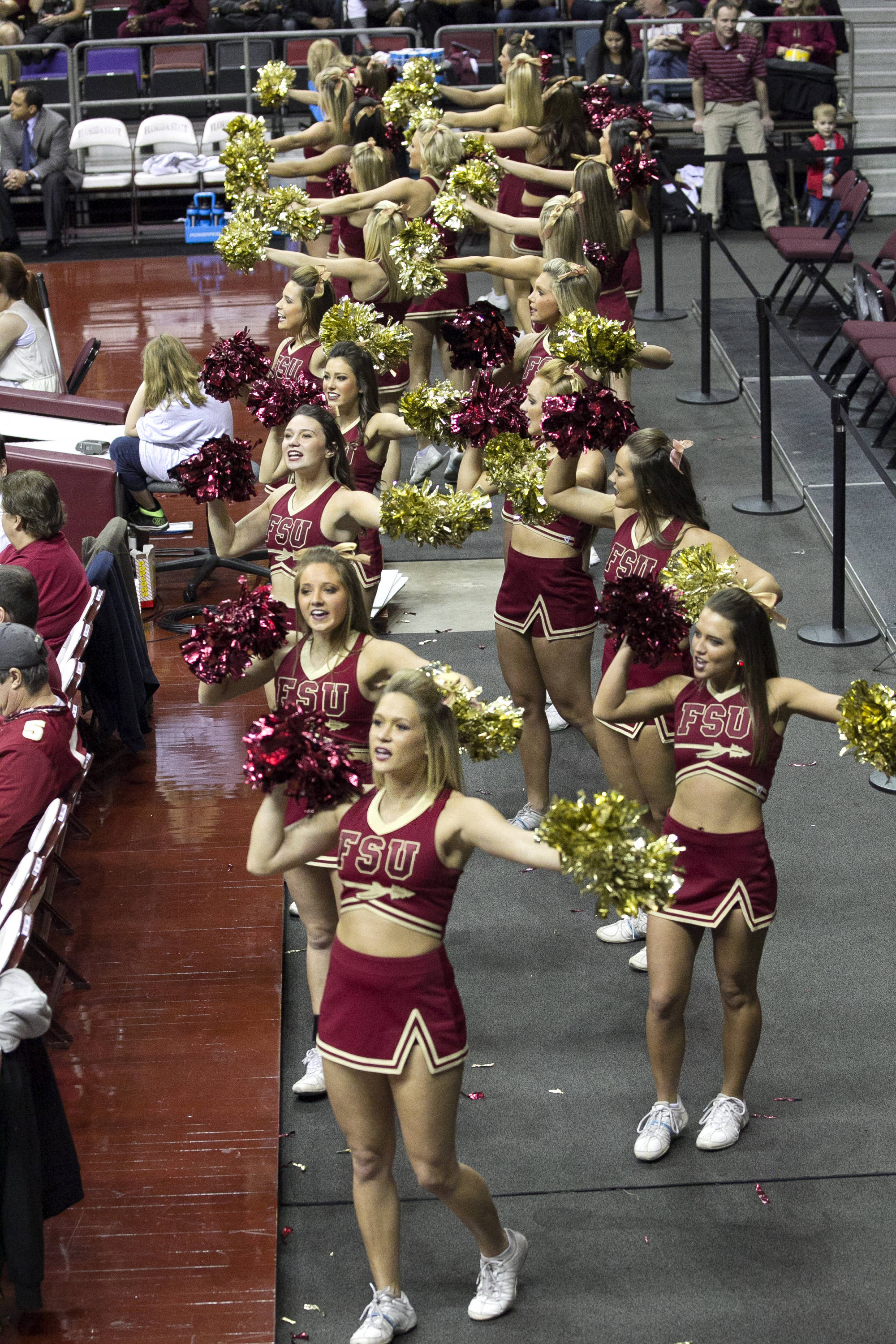 FSU cheerleaders, FSU vs UT Martin, 12-28-13,  (Photo by Steve Musco)