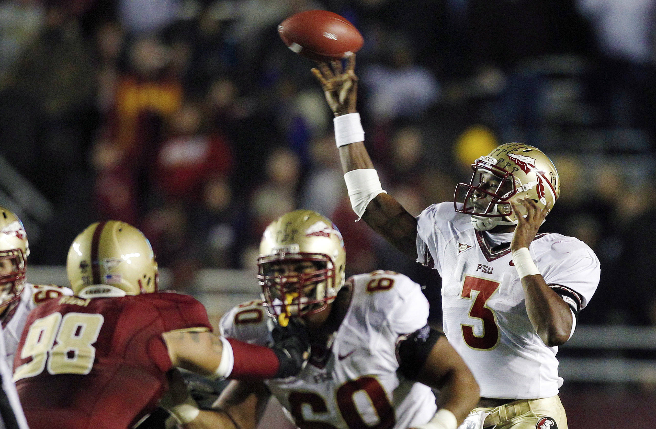 Florida State quarterback E.J. Manuel passes against Boston College during the second half. (AP Photo/Charles Krupa)