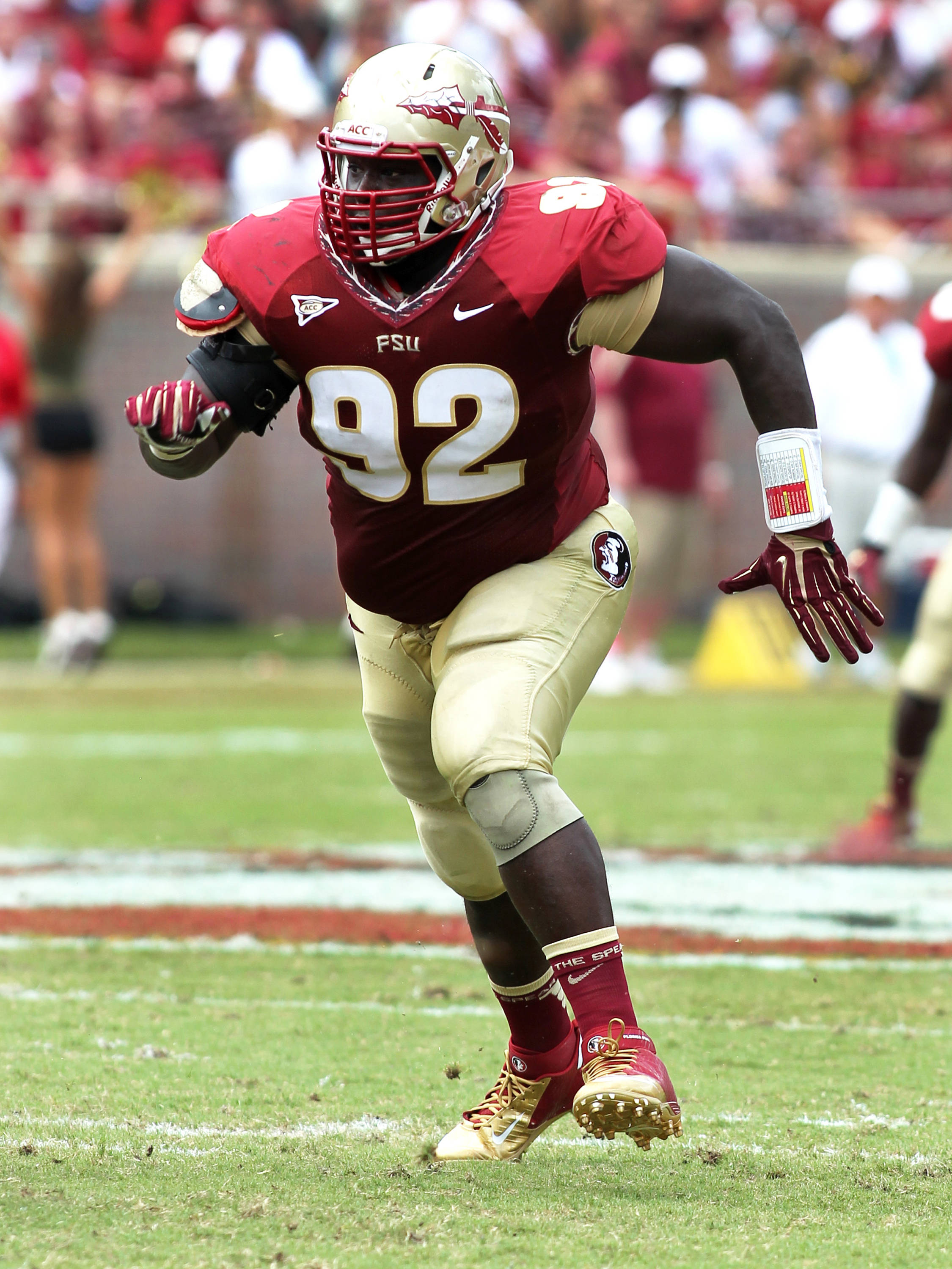 Anthony McCloud (92) on a rush, FSU vs Wake Forest, 9/15/12 (Photo by Steve Musco)