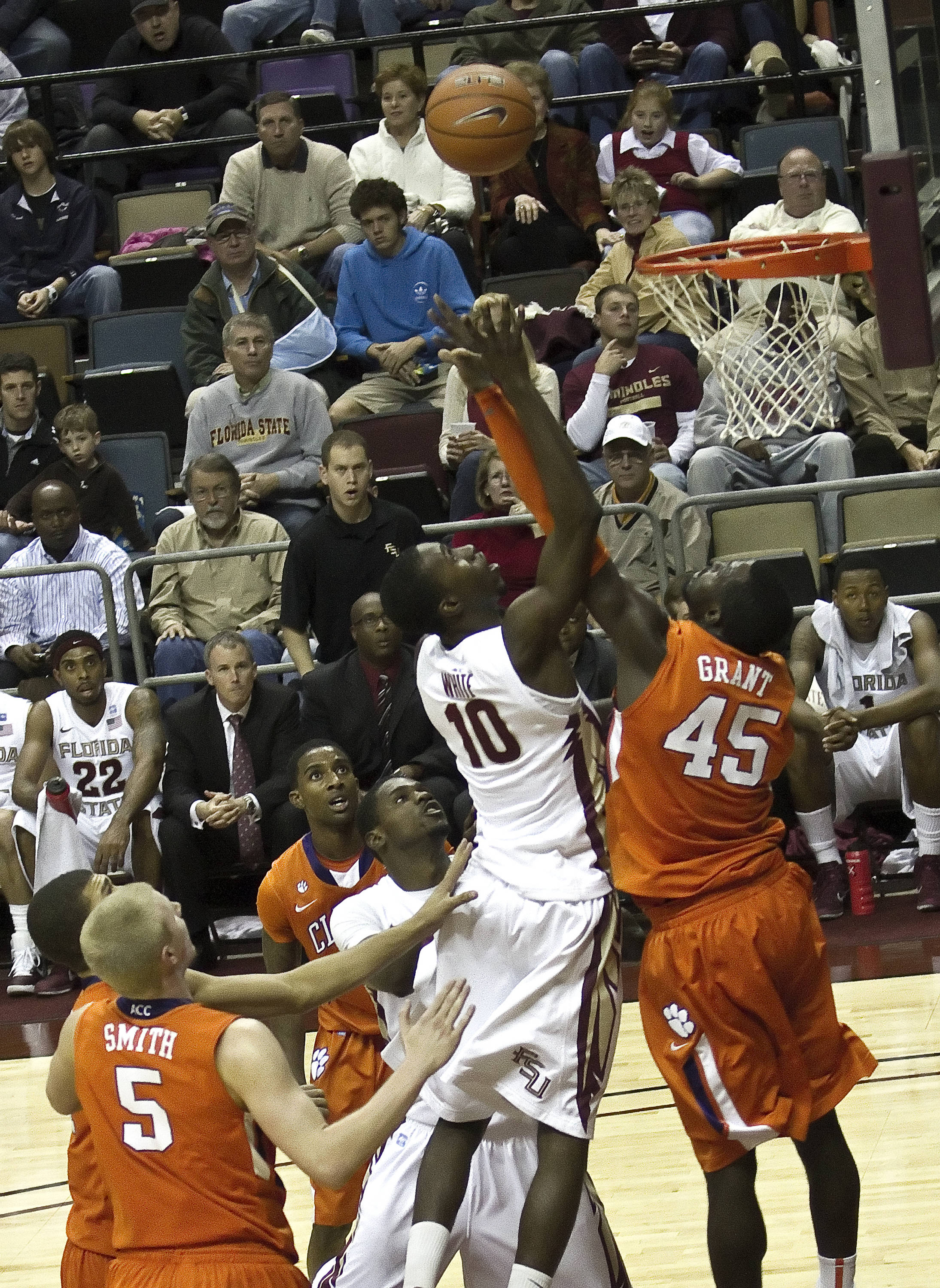 FSU vs Clemson - 12/12/2010 - Okaro White (10) Bernard James (5)