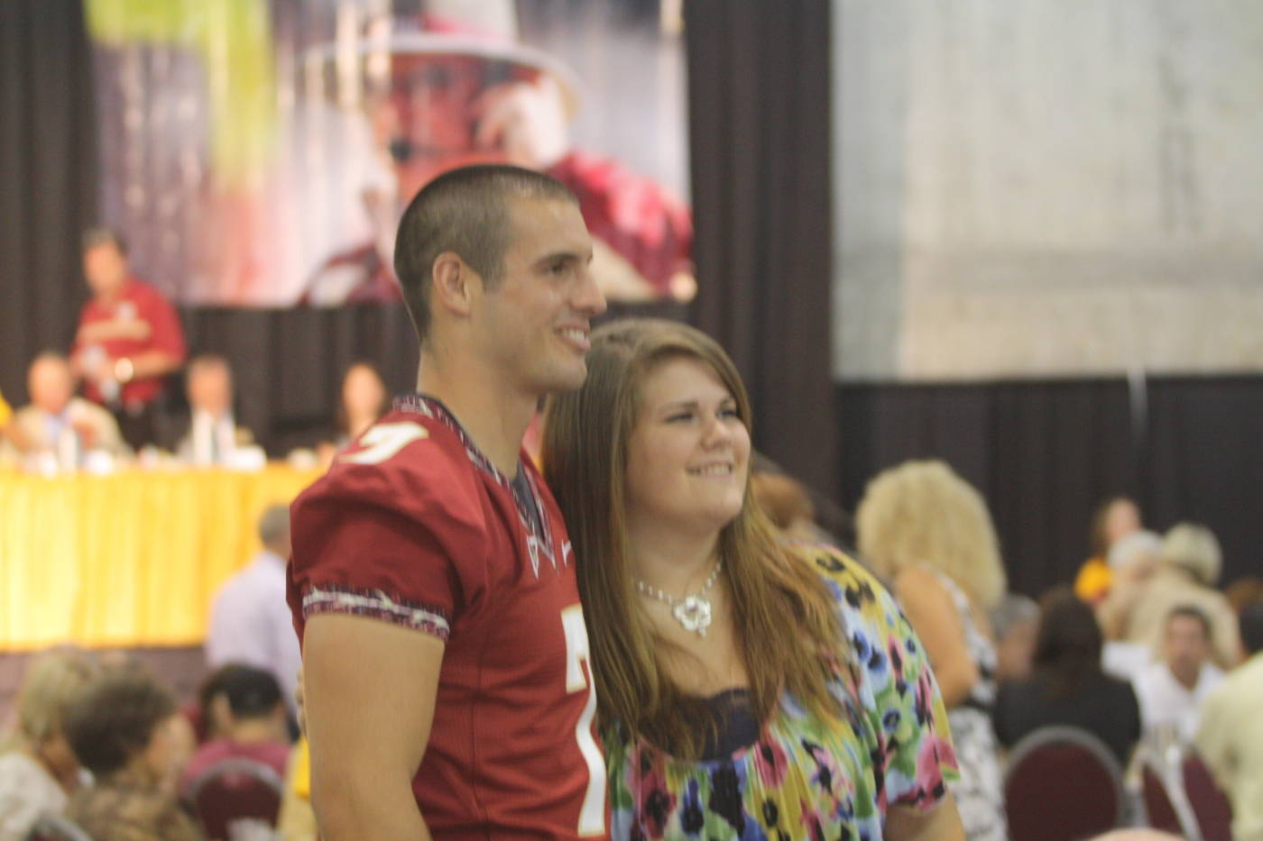 Christian Ponder posing for pictures at the 2009 Football Luncheon.