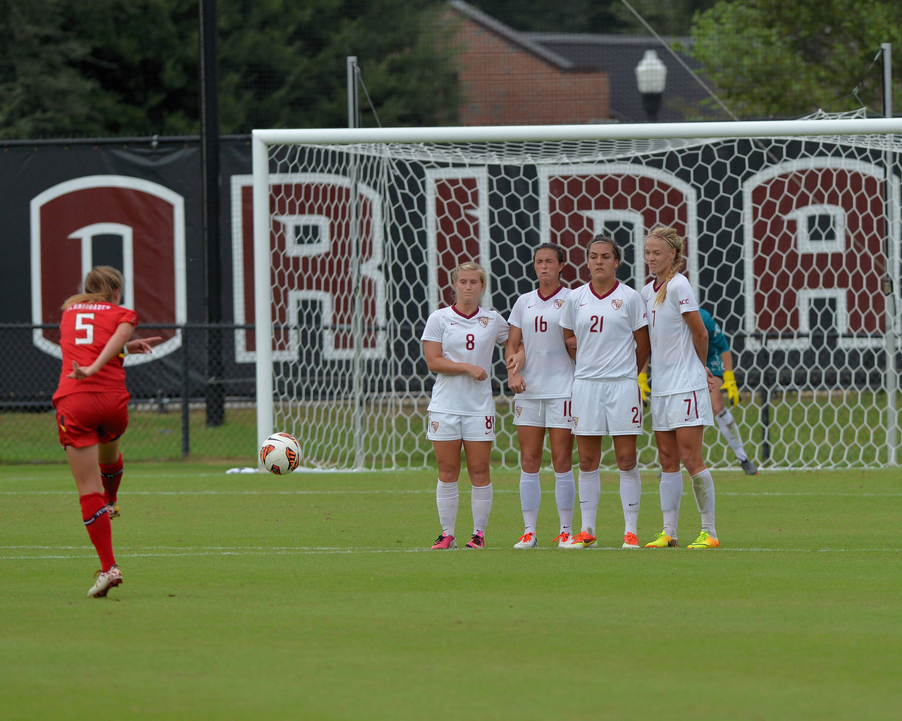 The Seminoles build a wall in front of the goal during a free kick chance by Maryland.