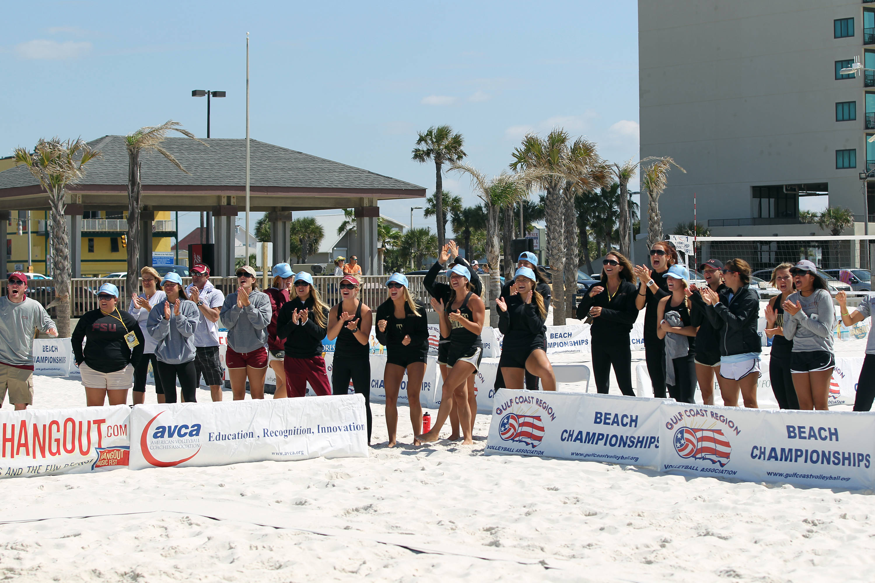 FSU team support, AVCA Collegiate Sand Volleyball National  Championships - Pairs,  Gulf Shores, Alabama, 05/05/13 . (Photo by Steve Musco)