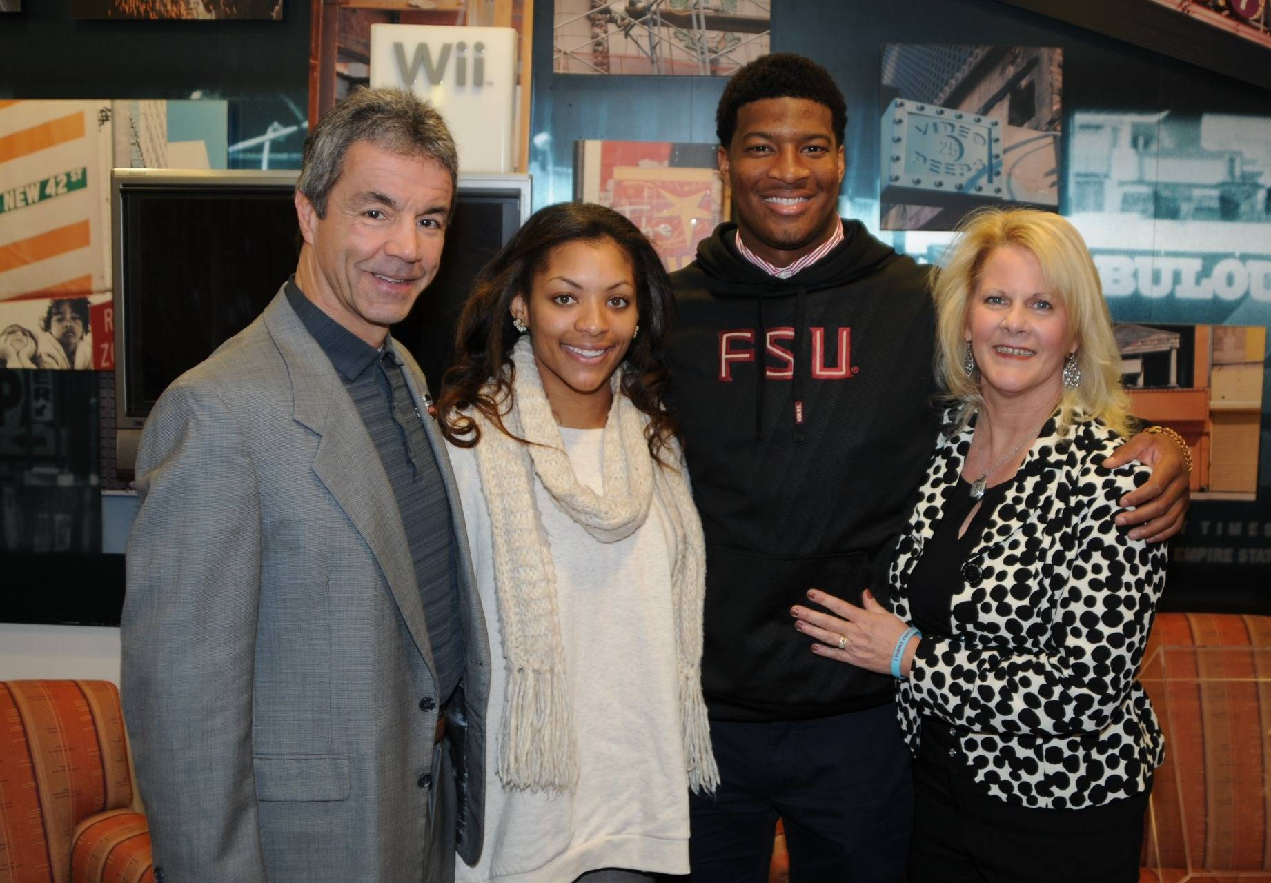 Senior Associate Athletics Director Monk Bonasorte with Jameis Winston (Photo by Jeff Romance)