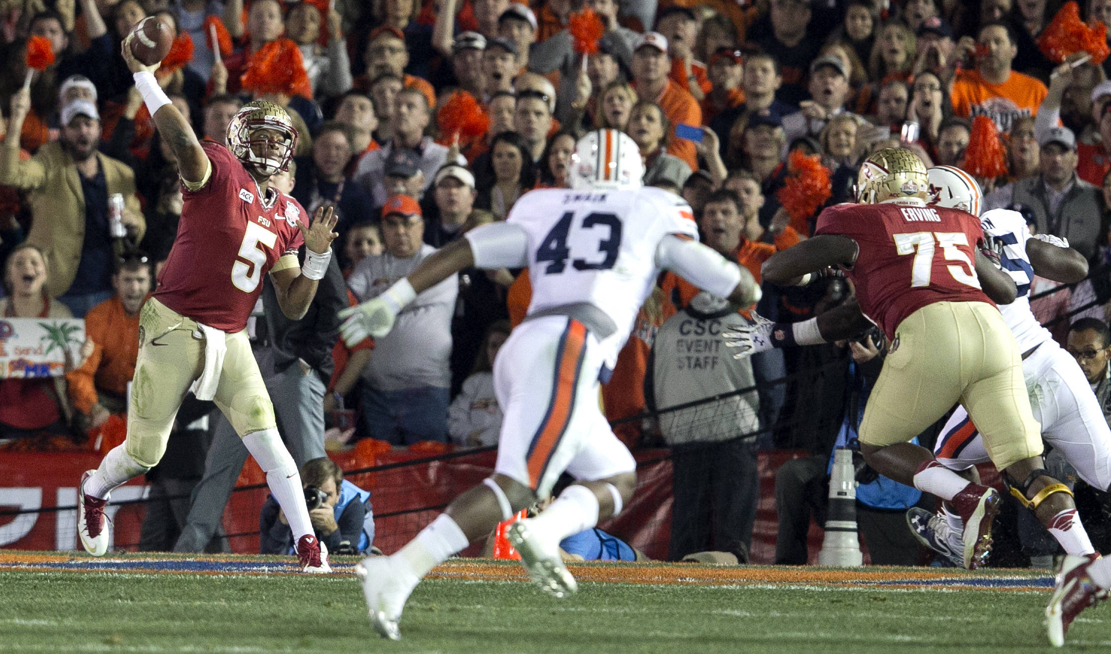Jameis Winston (5) leading his passing attack, BCS Championship, FSU vs Auburn, Rose Bowl, Pasadena, CA,  1-06-14,  (Photo by Steve Musco)