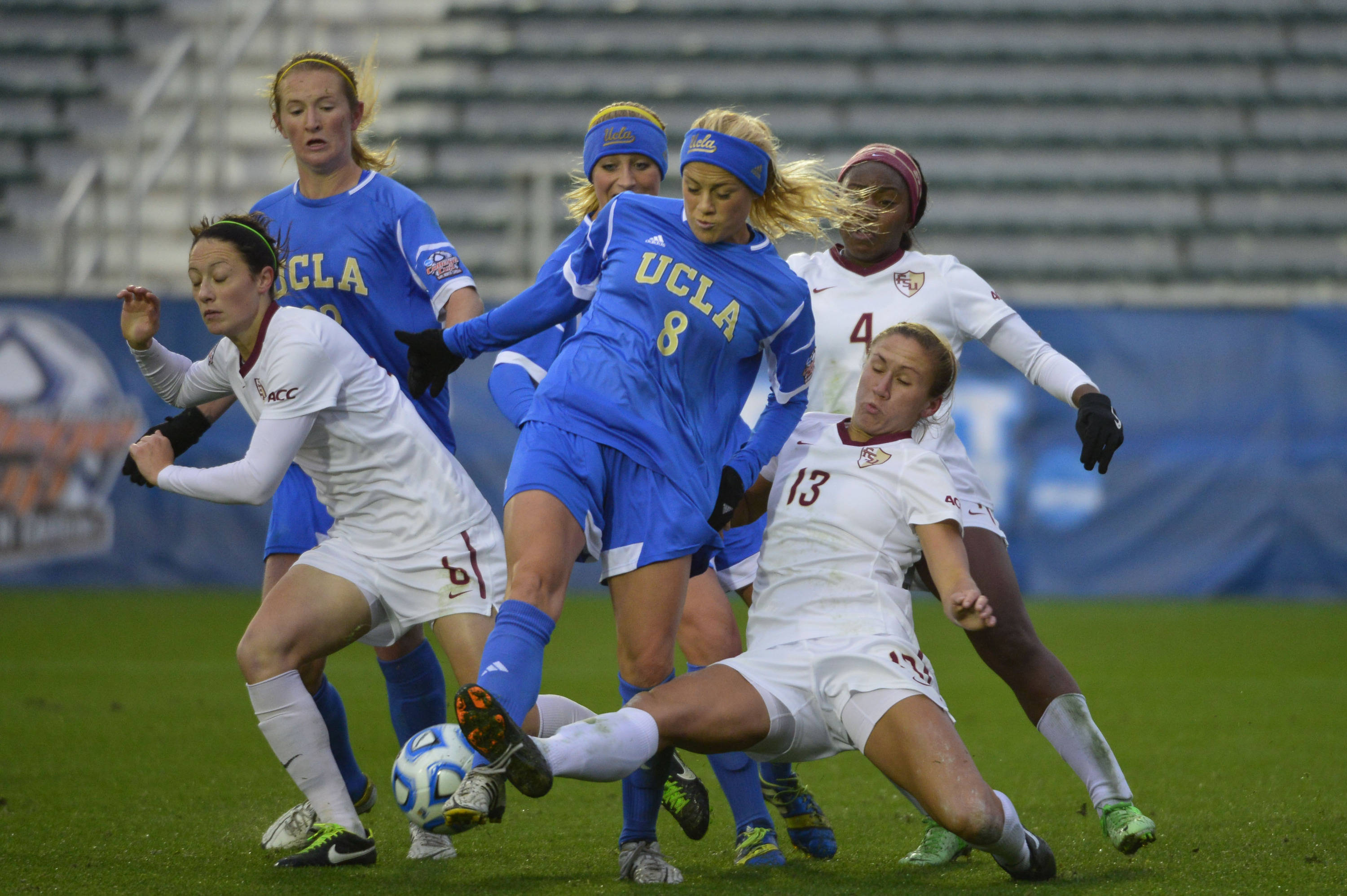 UCLA Bruins midfield/forward Sam Mewis (22) and defender Megan Oyster (21) and defender Abby Dahlkemper (8) and Florida State Seminoles defender Megan Campbell (6) and midfielder/forward Jamia Fields (4) and defender/midfielder Kristin Grubka (13) fight for the ball. Mandatory Credit: Bob Donnan-USA TODAY Sports
