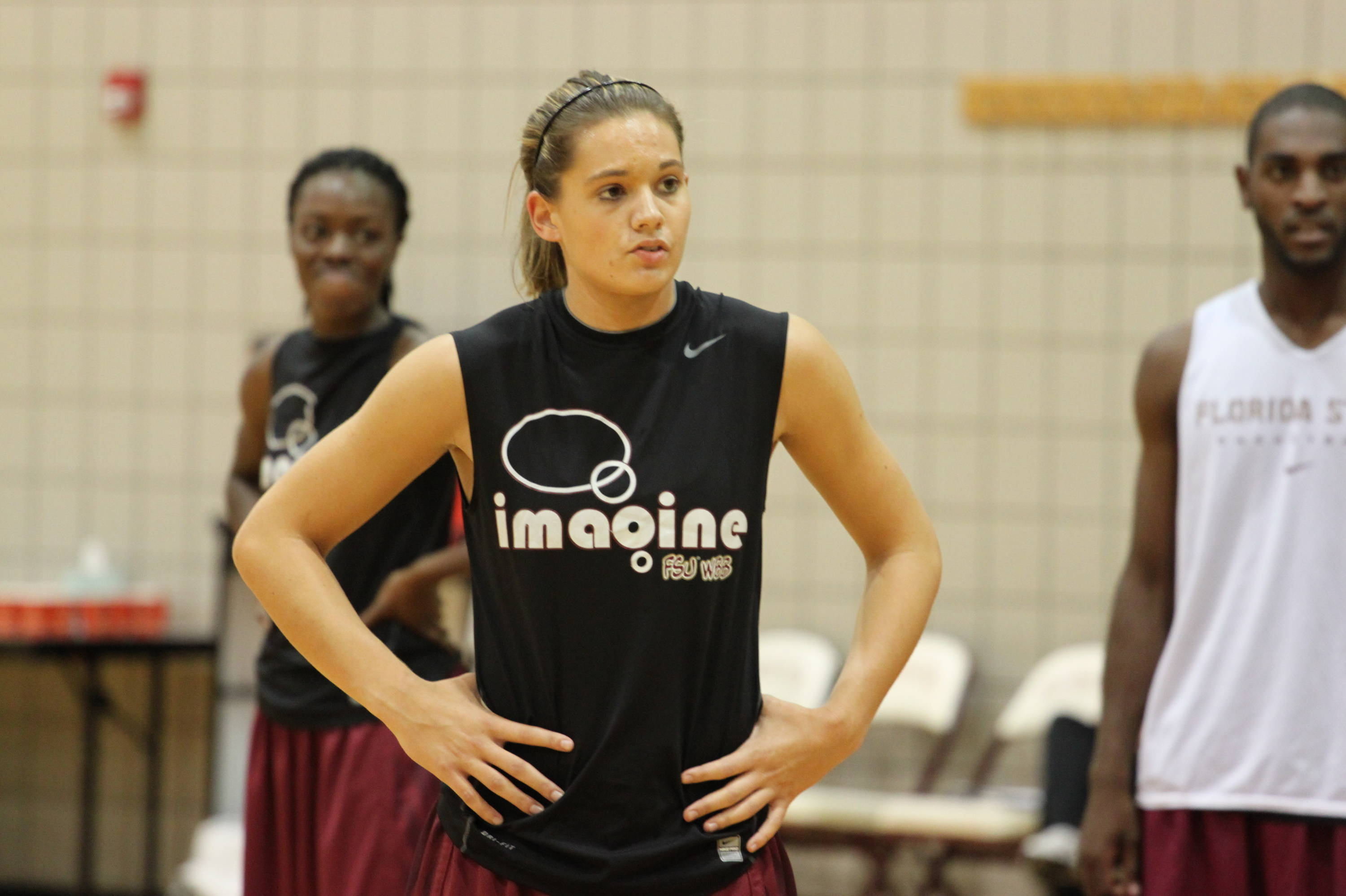 Redshirt sophomore guard Alexa Deluzio listens to instructions from the FSU coaching staff.