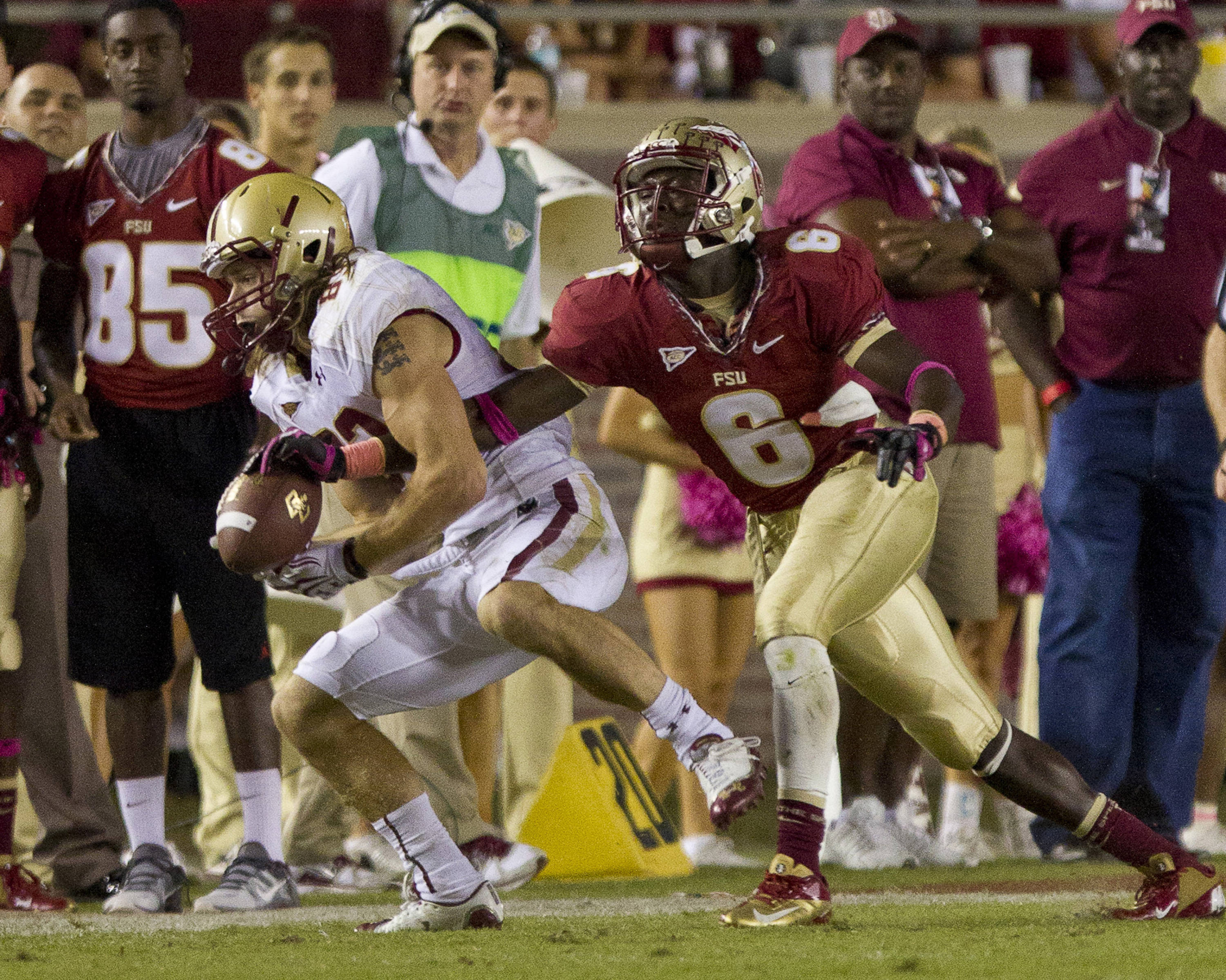 Nick Waisome (6) blocks a reception during the FSU vs Boston College football game on October 13, 2012 in Tallahassee, Fla.