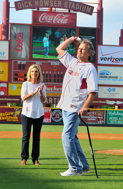 Jimmy Everett with wife Sondra by his side to throw out Wednesday night's first pitch.