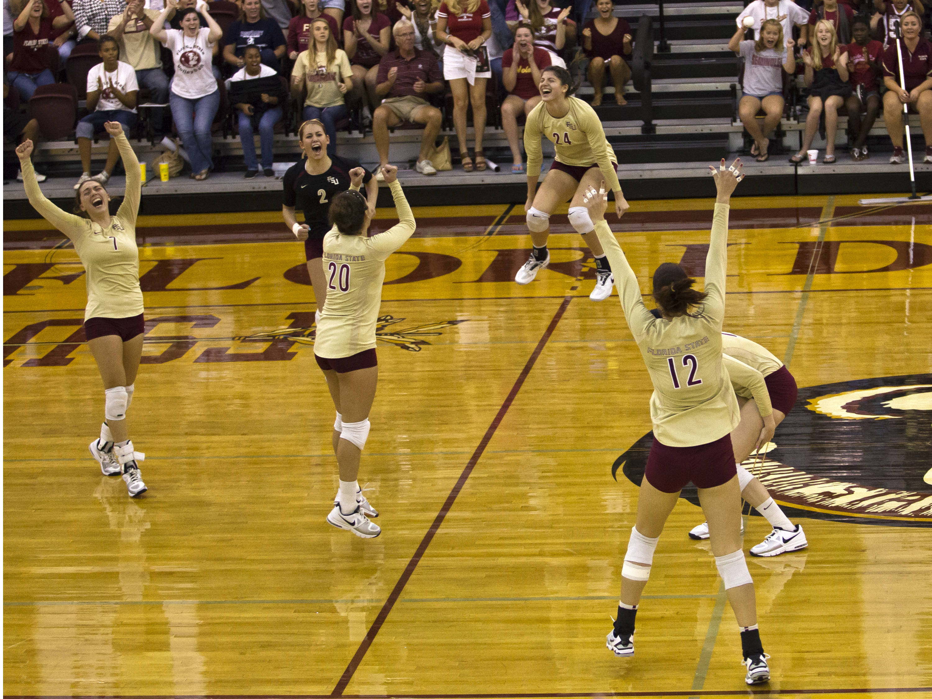 Big second set point, FSU vs NC, 10/05/12 (Photo by Steve Musco)