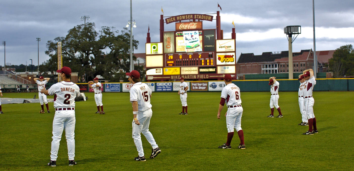 The Seminoles stretch in preparation for opening day