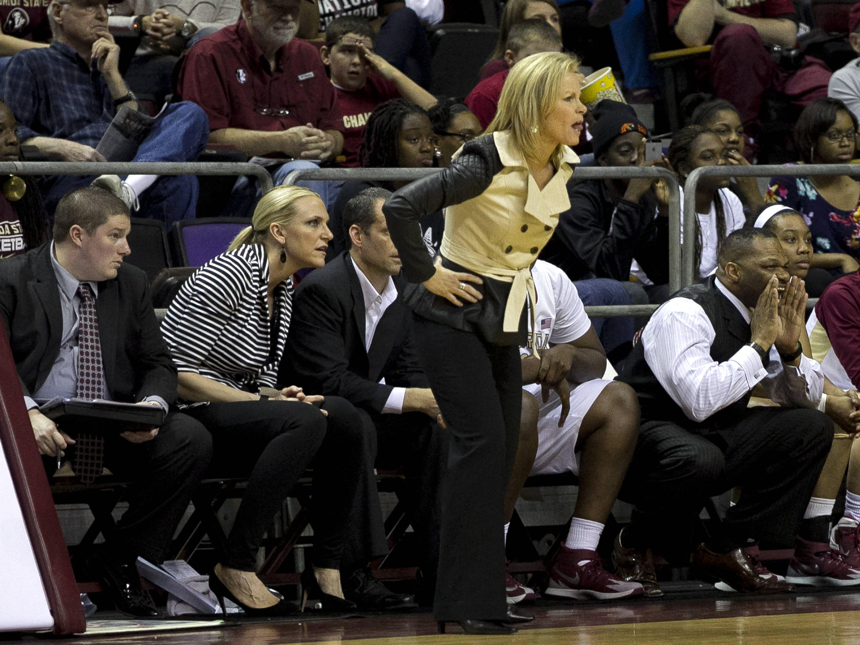 Assistant Coach Ronald Hughey yells out defensive instruction as Head Coach Sue Semrau and her coaches intently watch the action, FSU vs Miami, 2-16-14, (Photo's by Steve Musco)