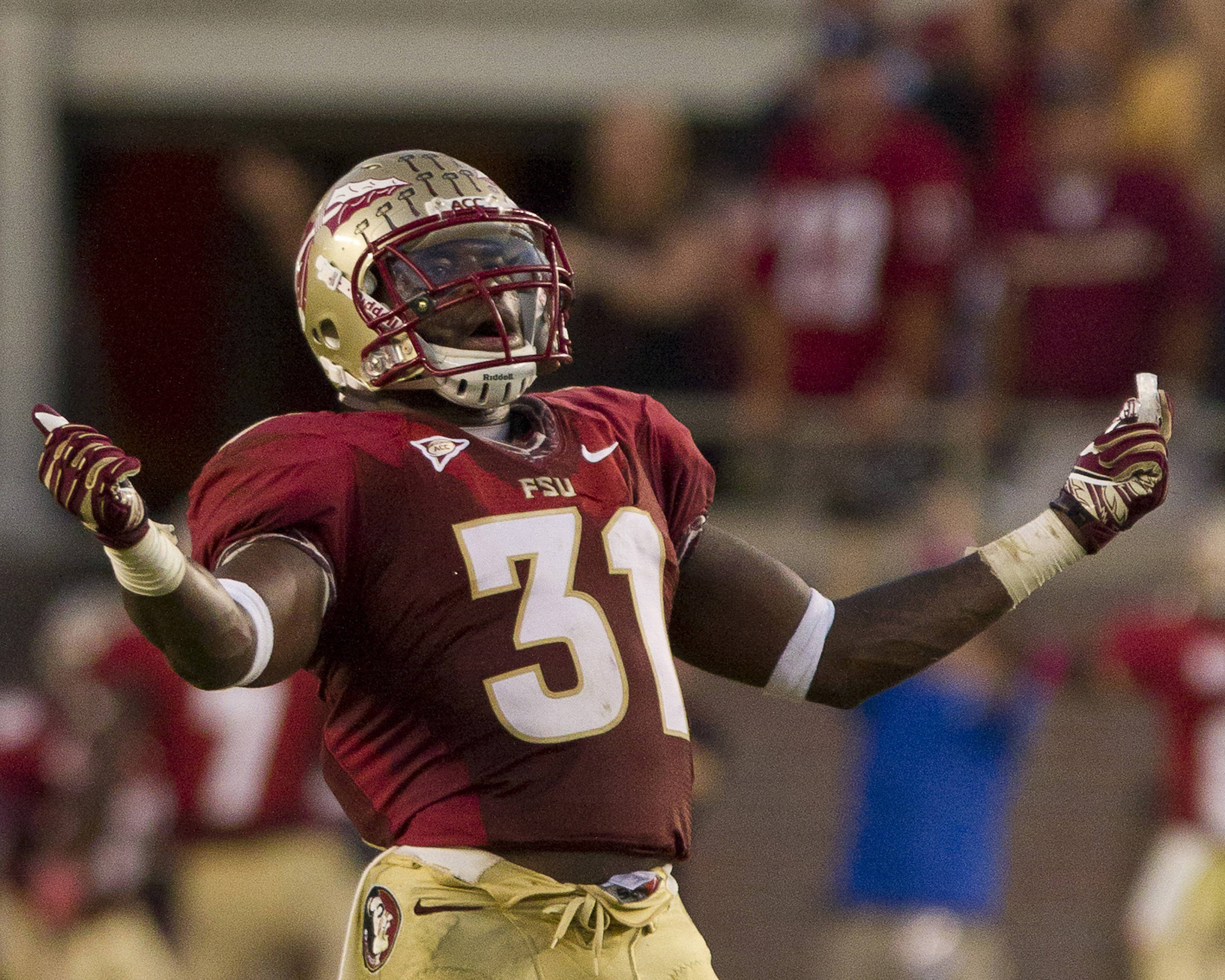 Terrence Brooks (31) celebrates during the FSU vs Boston College football game on October 13, 2012 in Tallahassee, Fla.