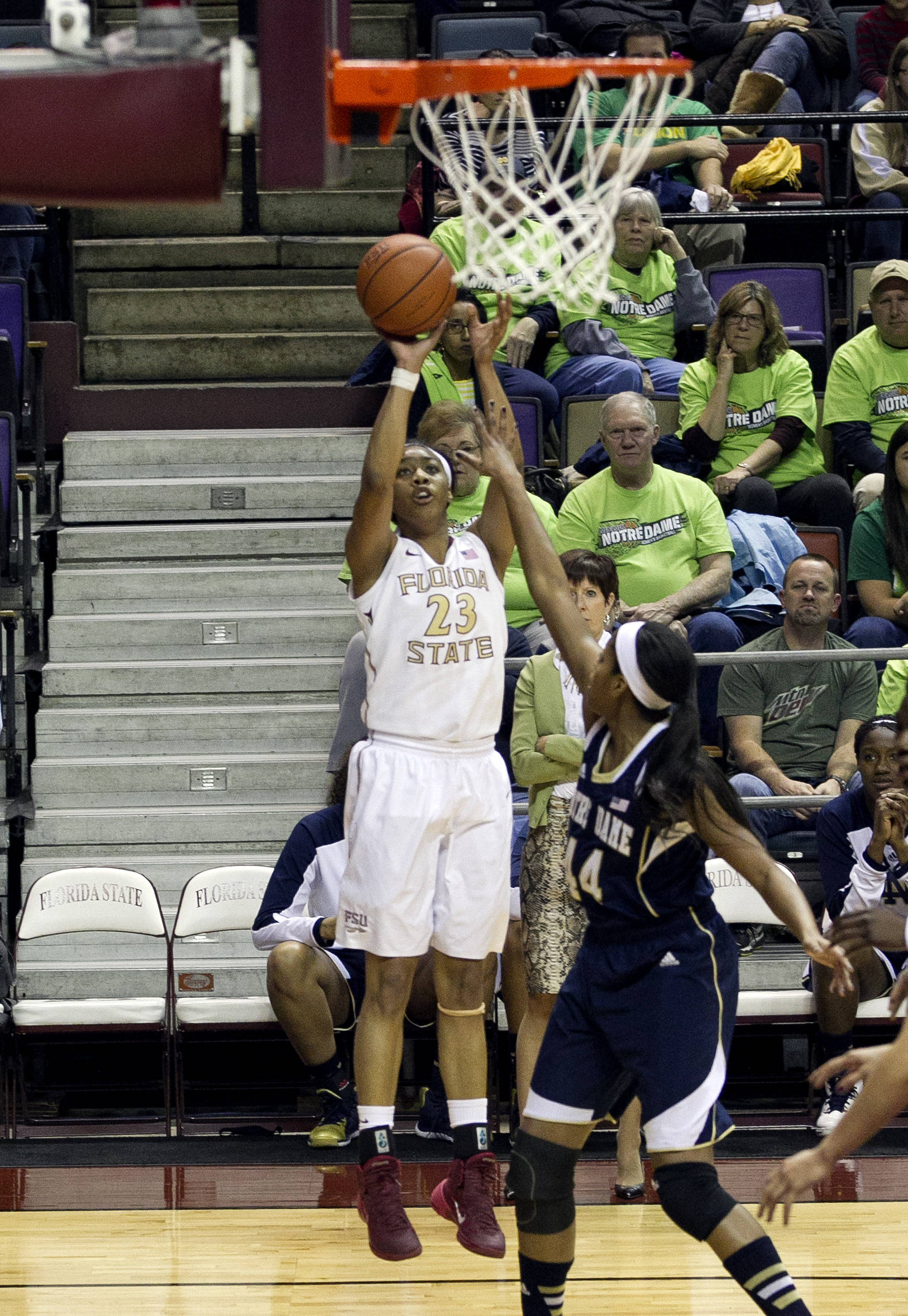Ivey Slaughter (23),  with a corner jumper, FSU vs Notre Dame, 2-06-14, (Photo's by Steve Musco)