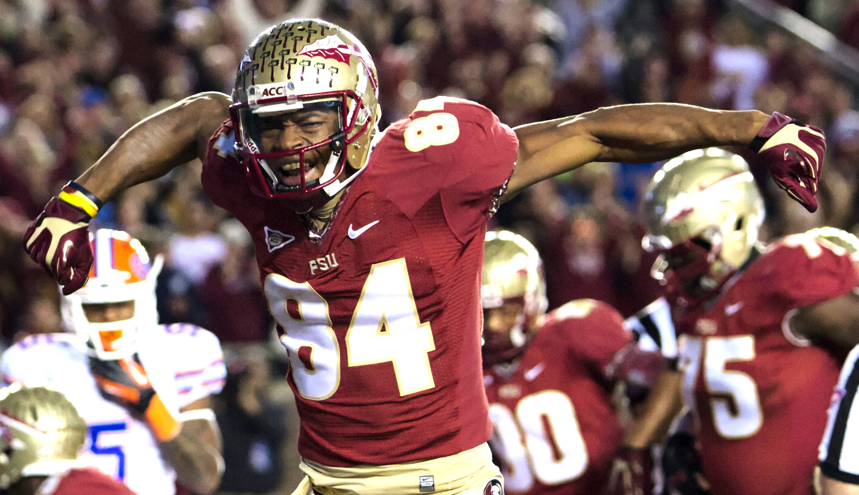 Rodney Smith (84), FSU vs Florida, 11/24/12. (Photo by Steve Musco)