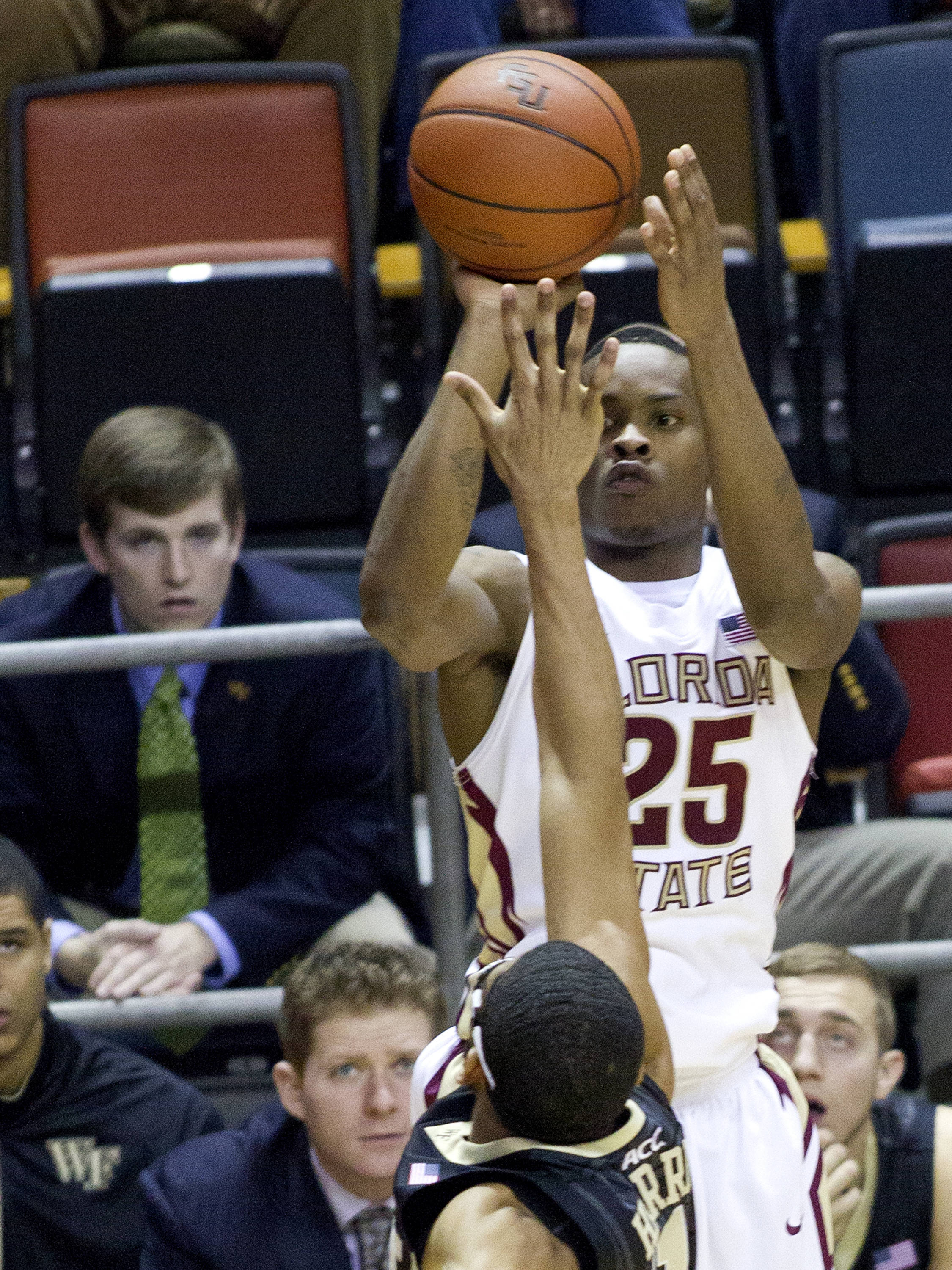 Aaron Thomas (25), FSU vs Wake Forest, 02/26/13. (Photo by Steve Musco)