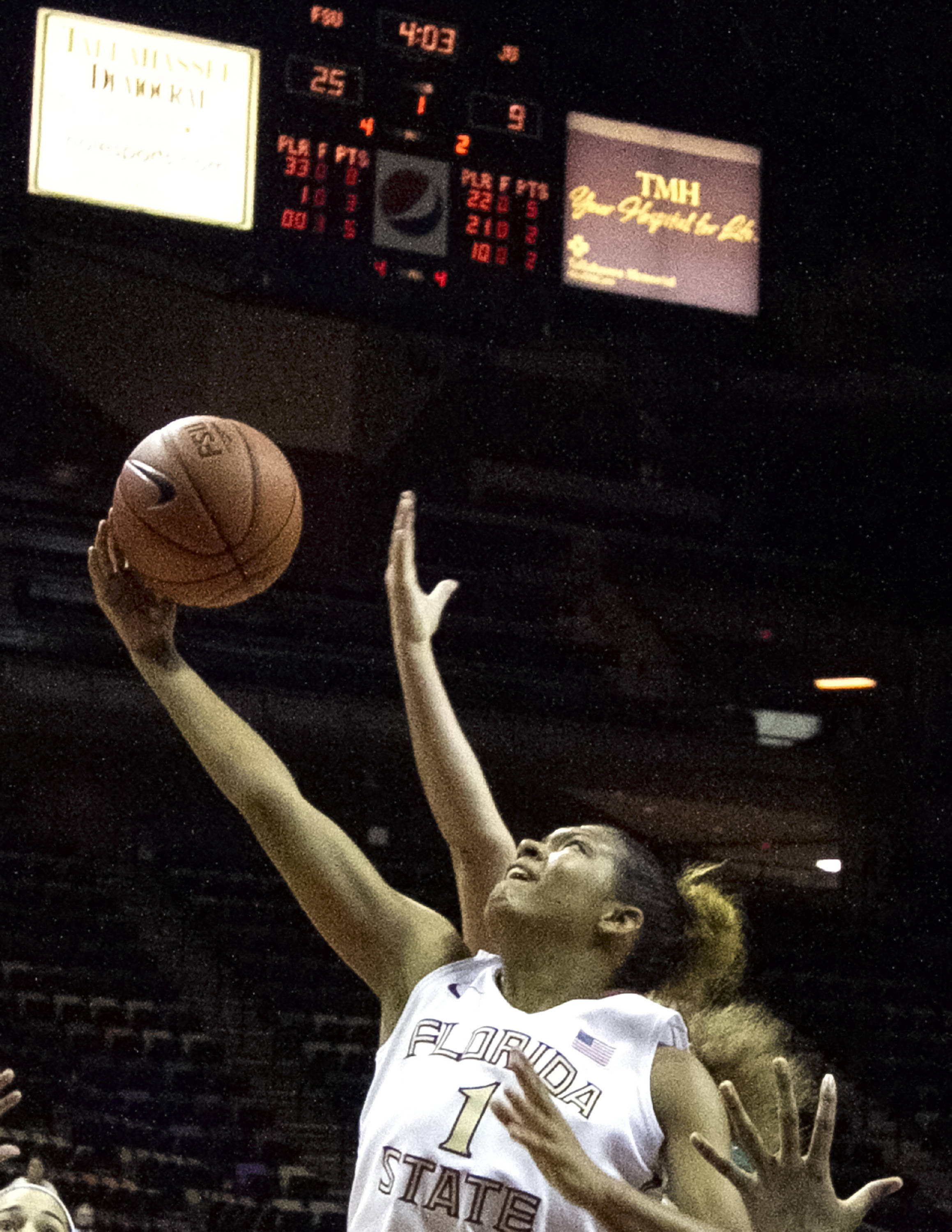 Morgan Jones (1),  grabs a rebound, FSU vs Jacksonville, 12-08-13,  (Photo by Steve Musco)