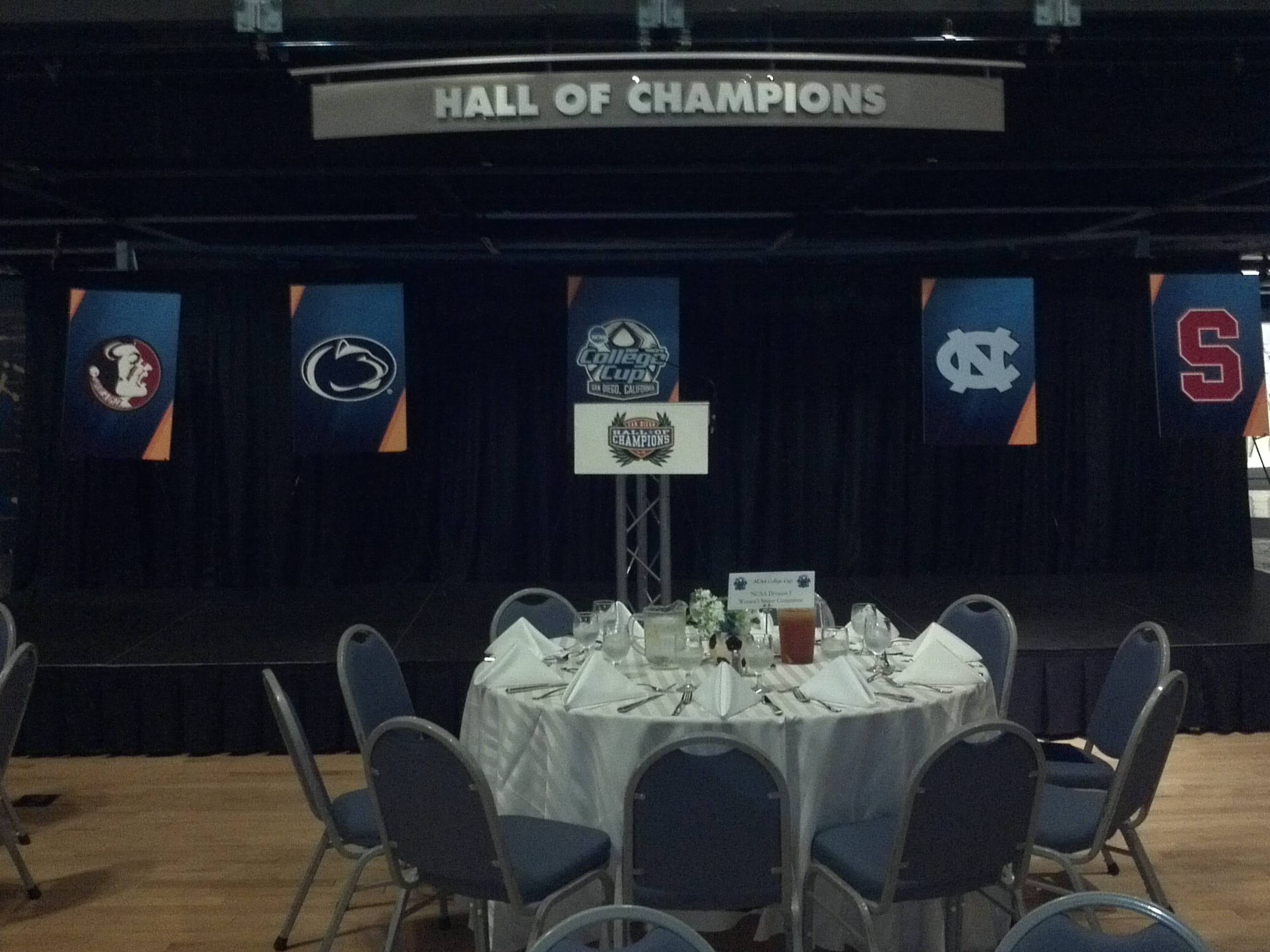 The championship banquet inside the San Diego Hall of Champions.