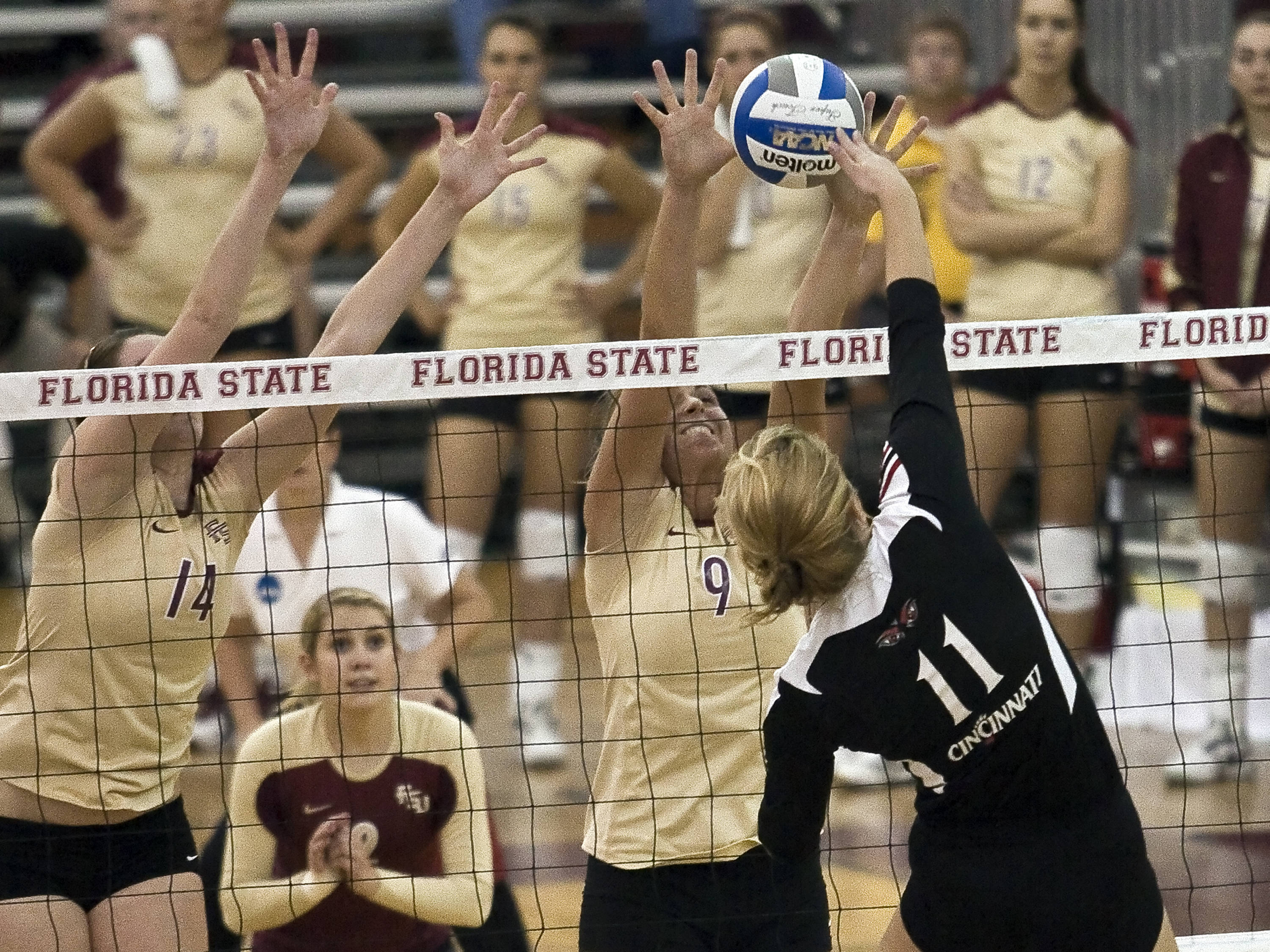 Visnja Djurdjevic (9), Ashley Neff (14), FSU vs Cincinnati, 12/03/2011