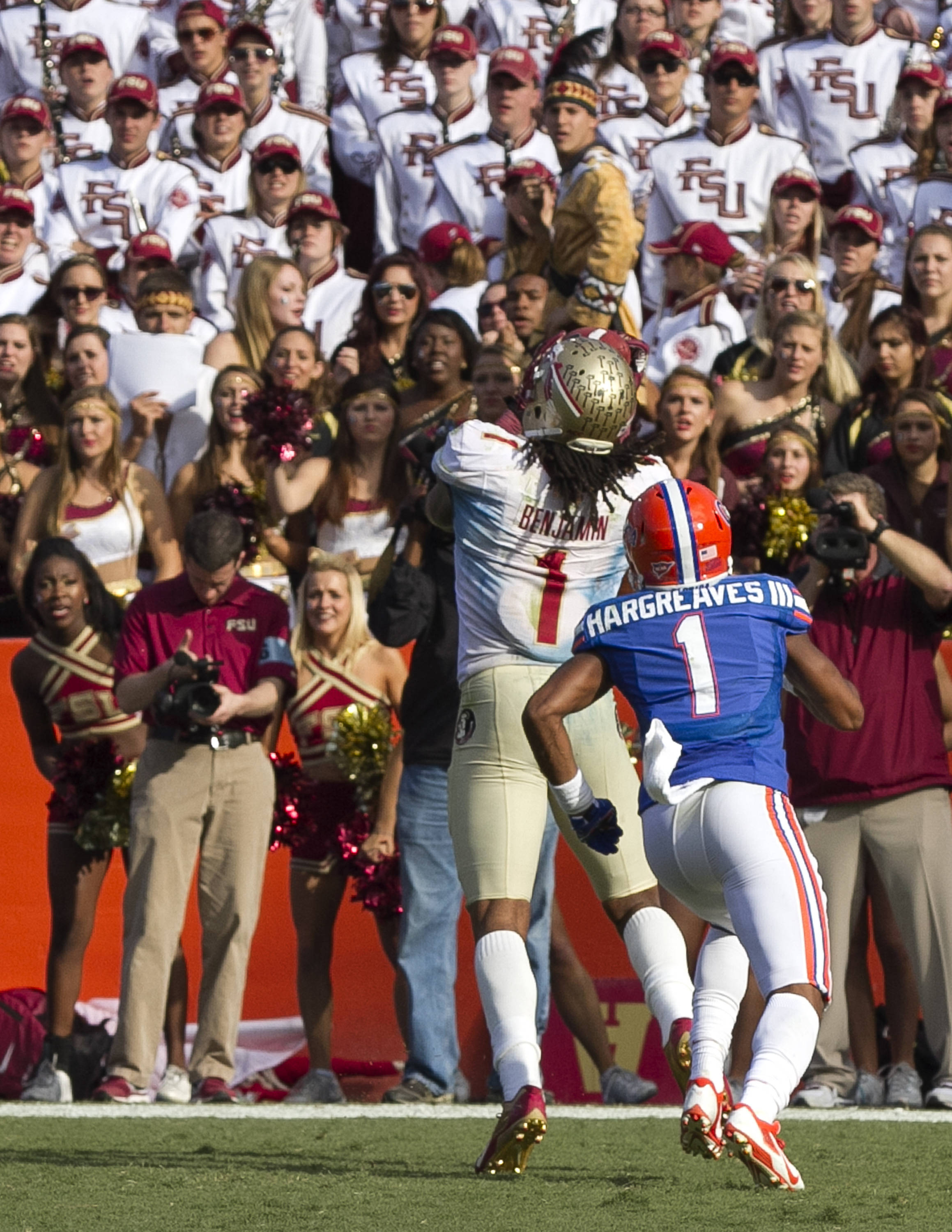 Kelvin Benjamin (1) with his third touchdown catch, FSU vs Florida, 11-30-13,  (Photo by Steve Musco)
