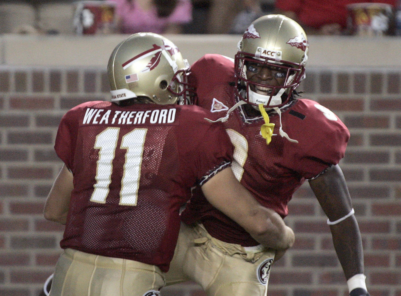 Florida State receiver Richard Goodman, right, is congratulated by quarterback Drew Weatherford after catching a third-quarter touchdown pass from Weatherford in a football game against UAB, Saturday, Sept. 8, 2007, in Tallahassee, Fla. Florida State won 34-24. (AP Photo/Phil Coale)