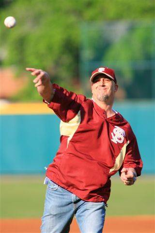 Seminole Hall of Famer Paul Sorrento threw out the first pitch before Tuesday night's game.