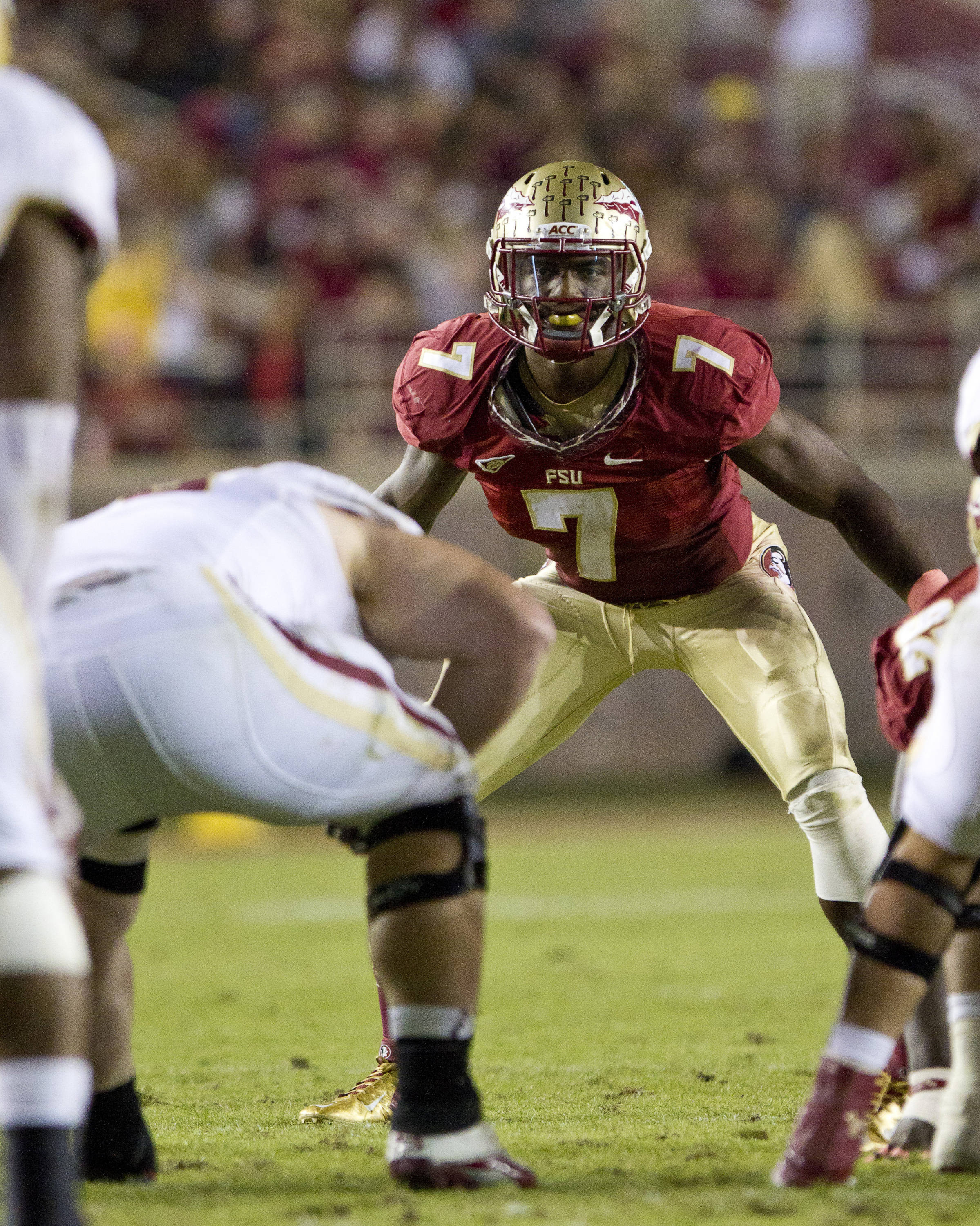 Christian Jones (7) lines up on defense during the FSU vs Boston College football game on October 13, 2012 in Tallahassee, Fla.