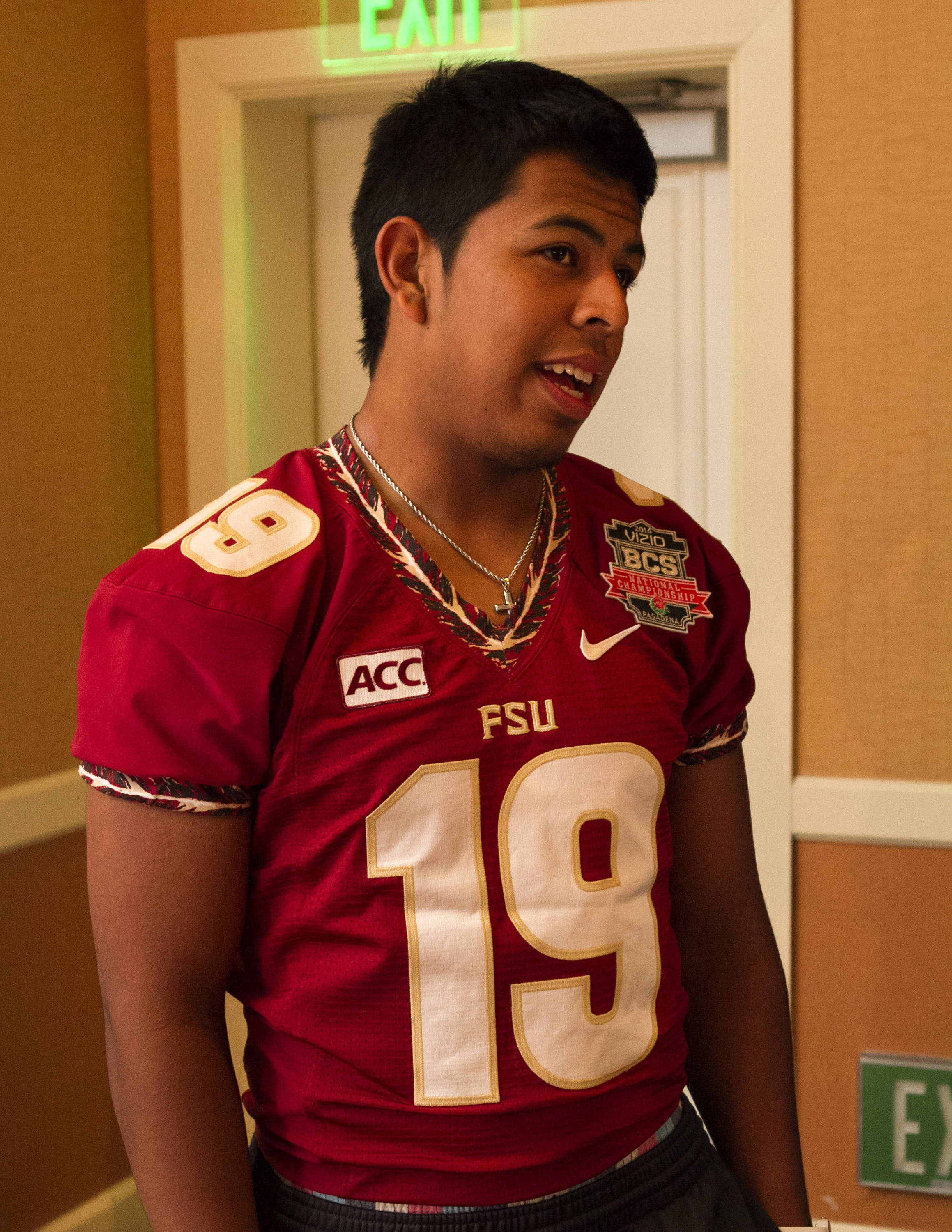 Roberto Aguayo (19), FSU at BCS Championship Media Day,  1-04-14,  (Photo by Steve Musco)