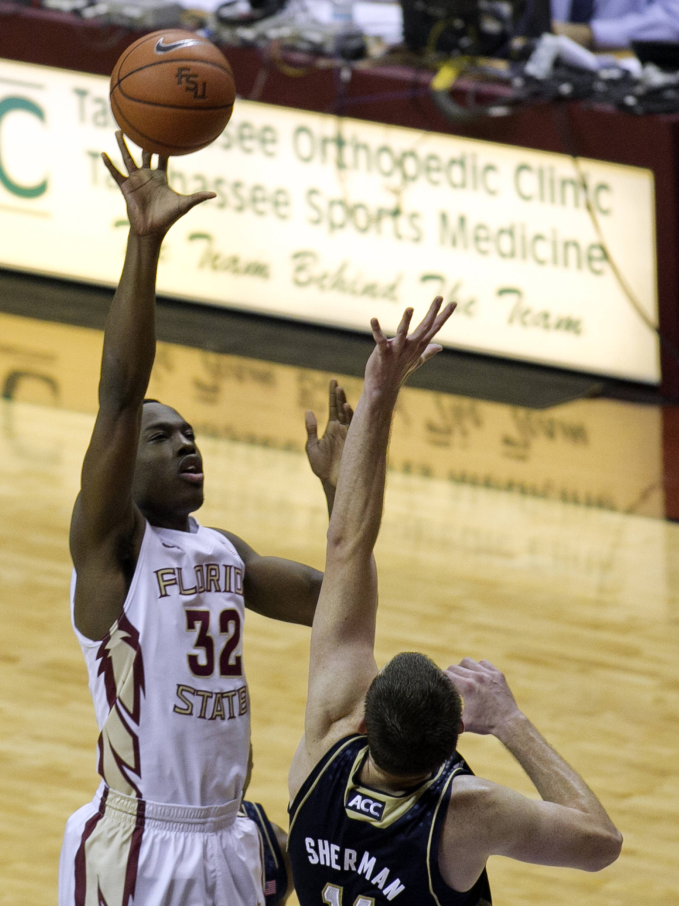 Montay Brandon (32) with a short jumper, FSU vs Notre Dame, 1-21-14, (Photo's by Steve Musco)