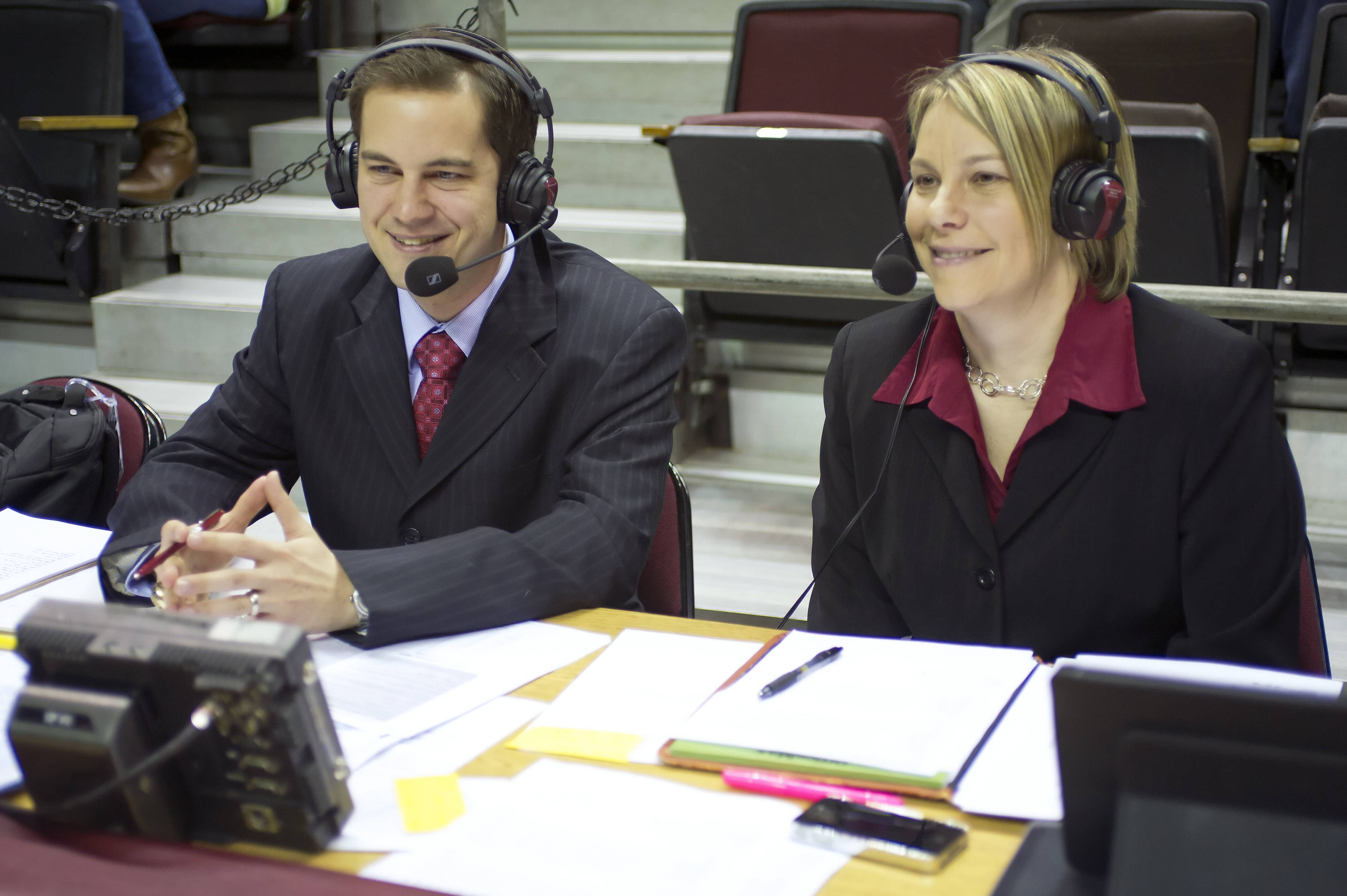 Ryan Pensey and Melissa Bruner broadcasting the game for ESPN3