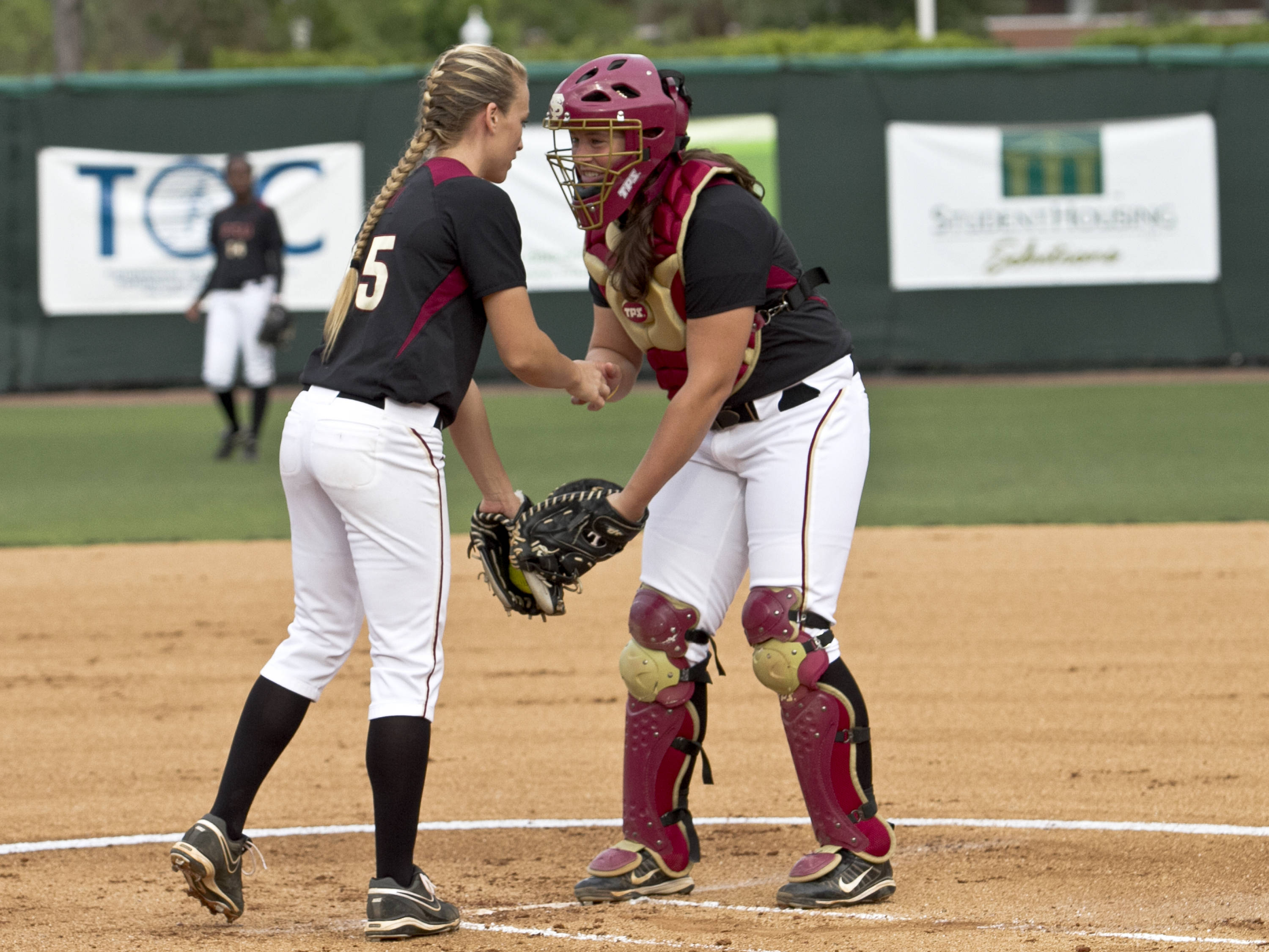 Monica Perry, Erika Leonard, FSU Softball vs FLA  04/02/2012