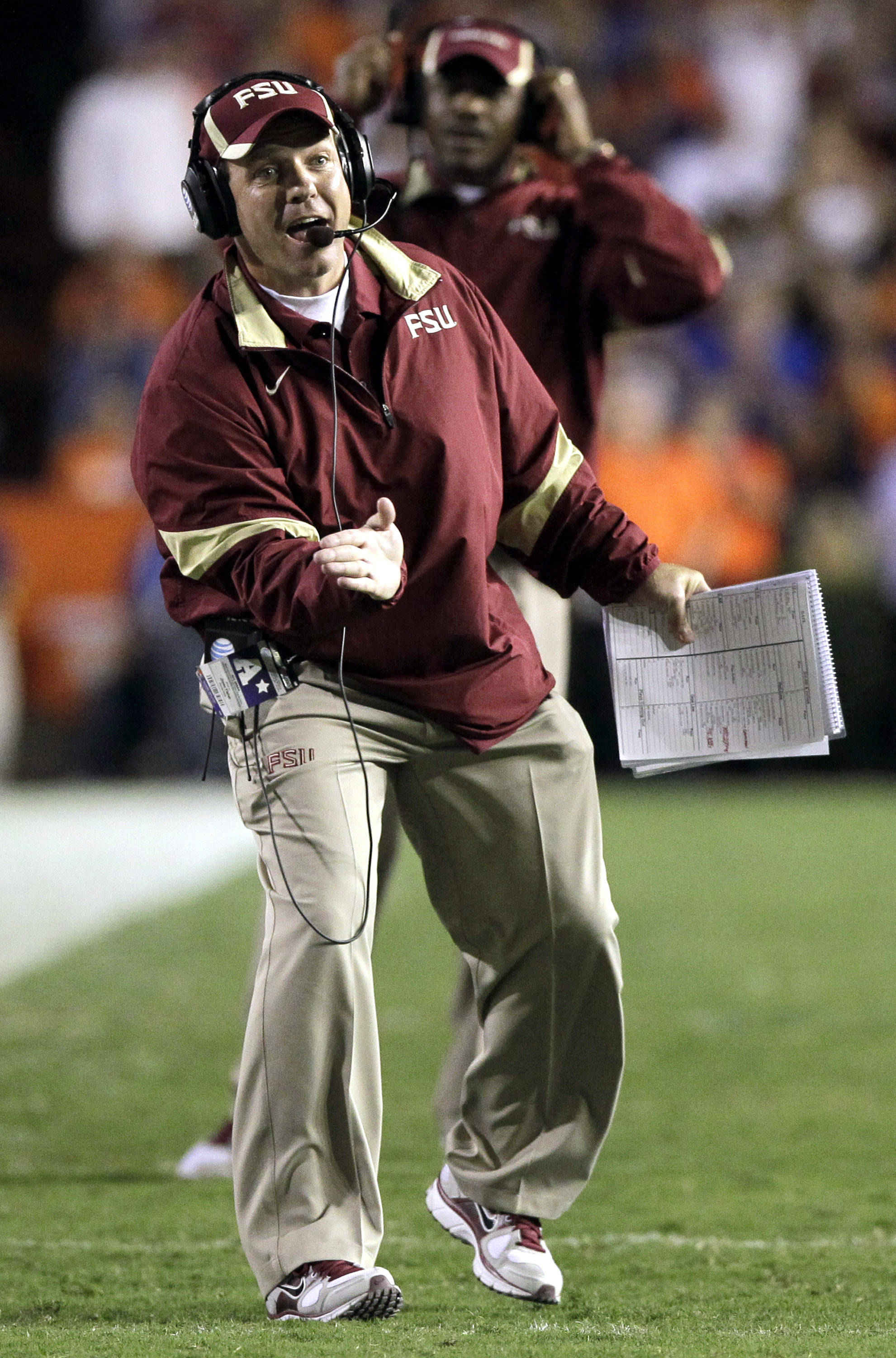 Florida State head coach Jimbo Fisher yells to his players on the field during the first half of an NCAA college football game against Florida, Saturday, Nov. 26, 2011, in Gainesville, Fla. (AP Photo/John Raoux)