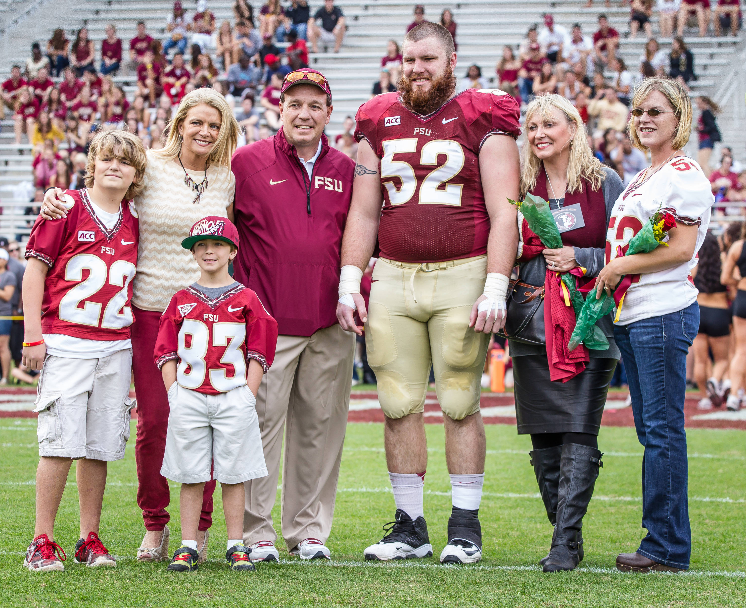 Senior Bryan Stork (52) is recognized prior to his final home game.