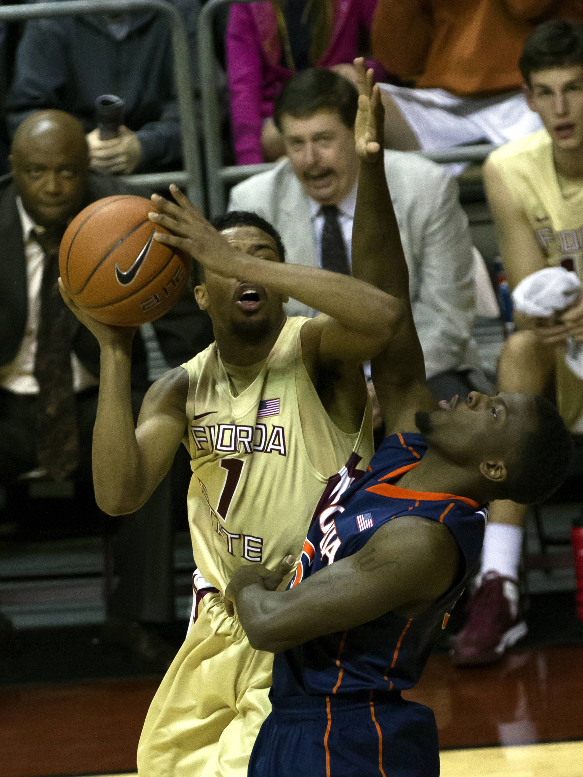 Devon Bookert (01), FSU vs Virginia, 03/07/13. (Photo by Steve Musco)