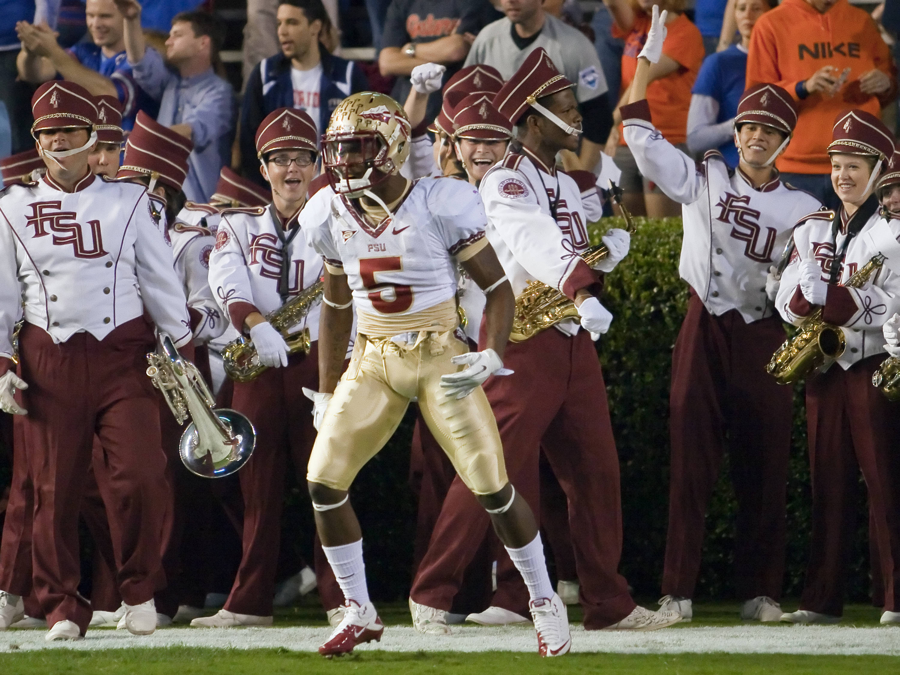 Greg Reid (5) with cheers from the Marching Chiefs, FSU vs Florida, 11/26/2011