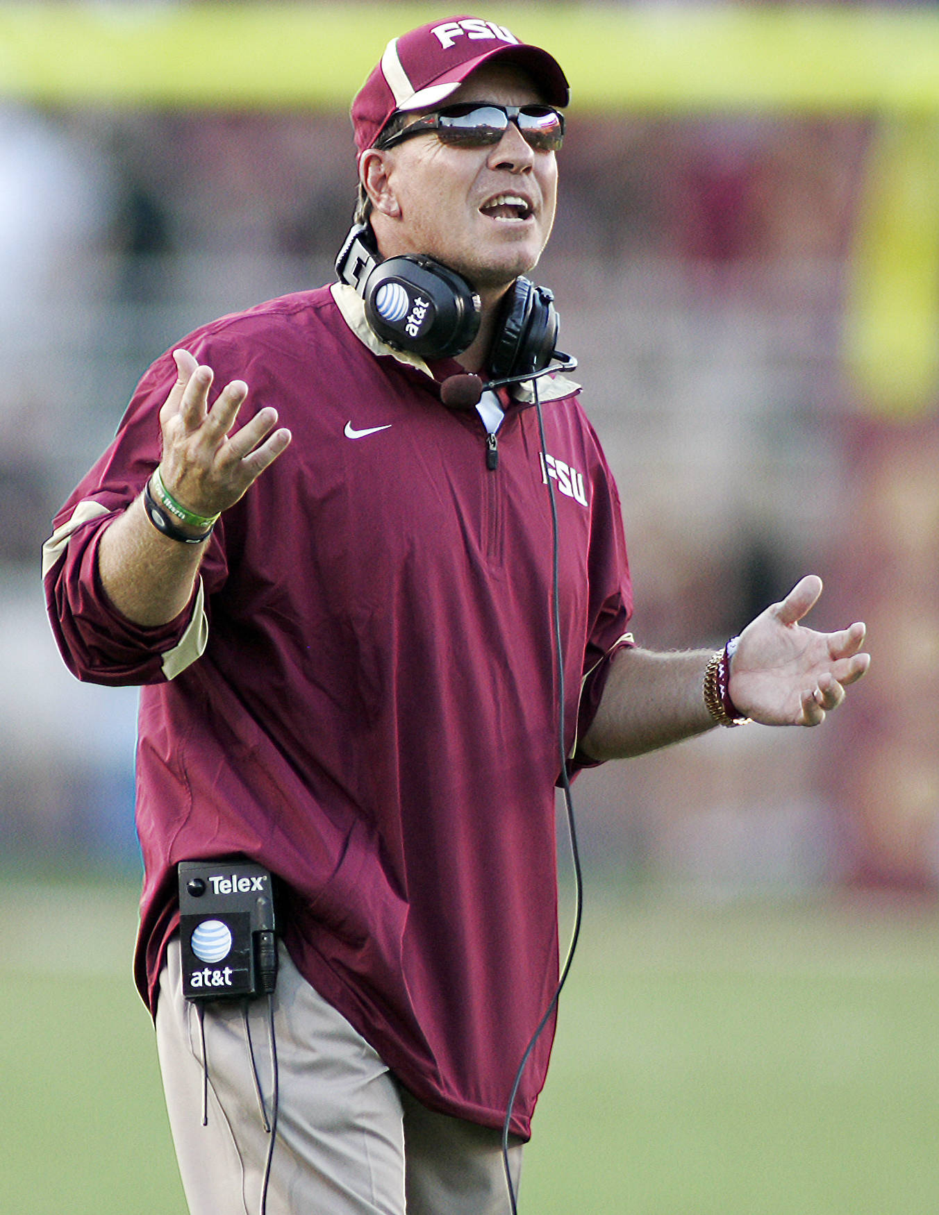 Florida State head coach Jimbo Fisher reacts against Charleston Southern in the second quarter of an NCAA college football game on Saturday, Sept. 10, 2011, in Tallahassee, Fla. FSU won 62-10. (AP Photo/Phil Sears)