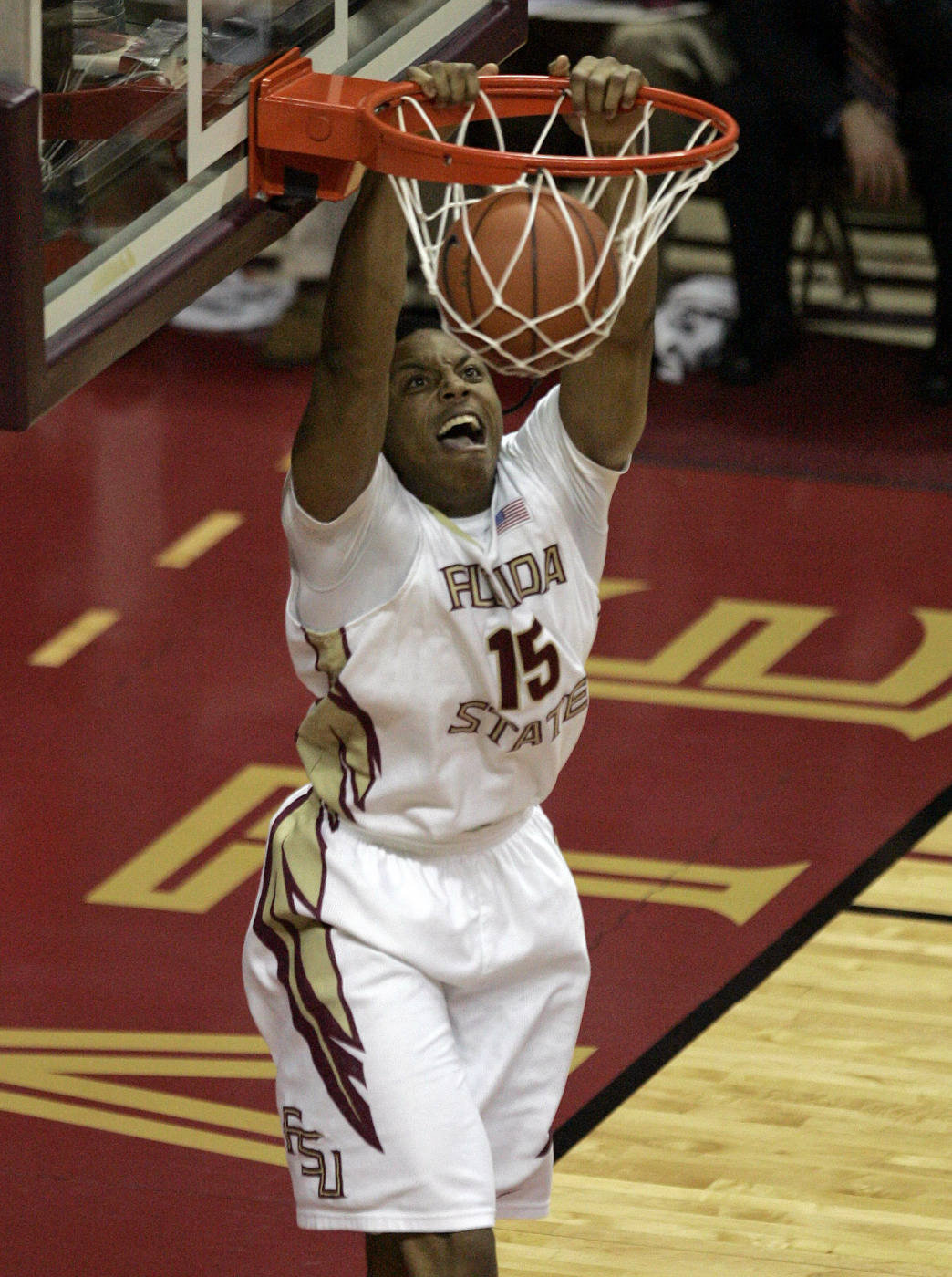Florida State's Terrance Shannon dunks on a breakaway against Virginia Tech in the first half. (AP Photo/Steve Cannon)