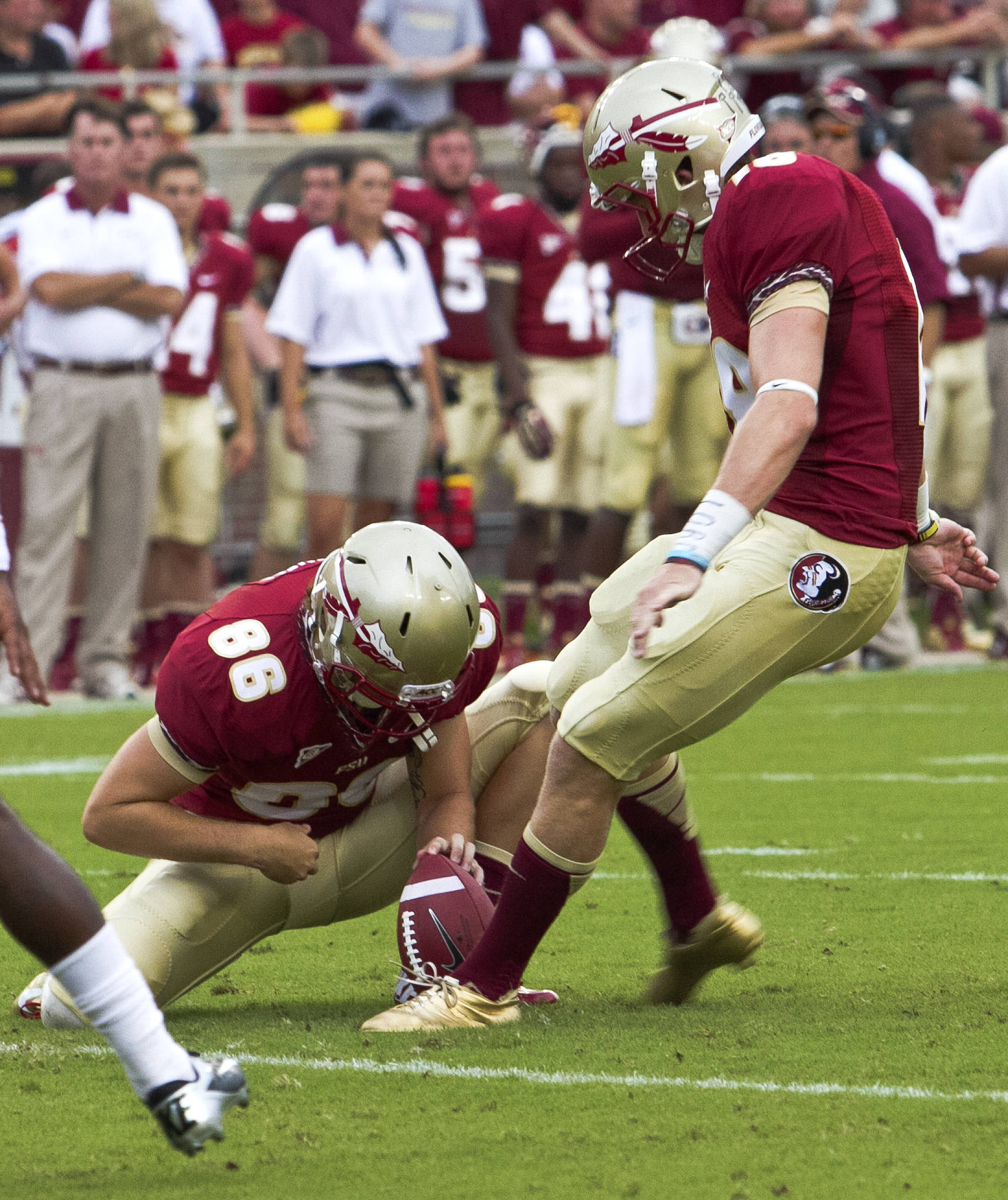 Chris Revell (86), Dustin Hopkins (18),  FSU vs Savannah State, 9/8/12 (Photo by Steve Musco)