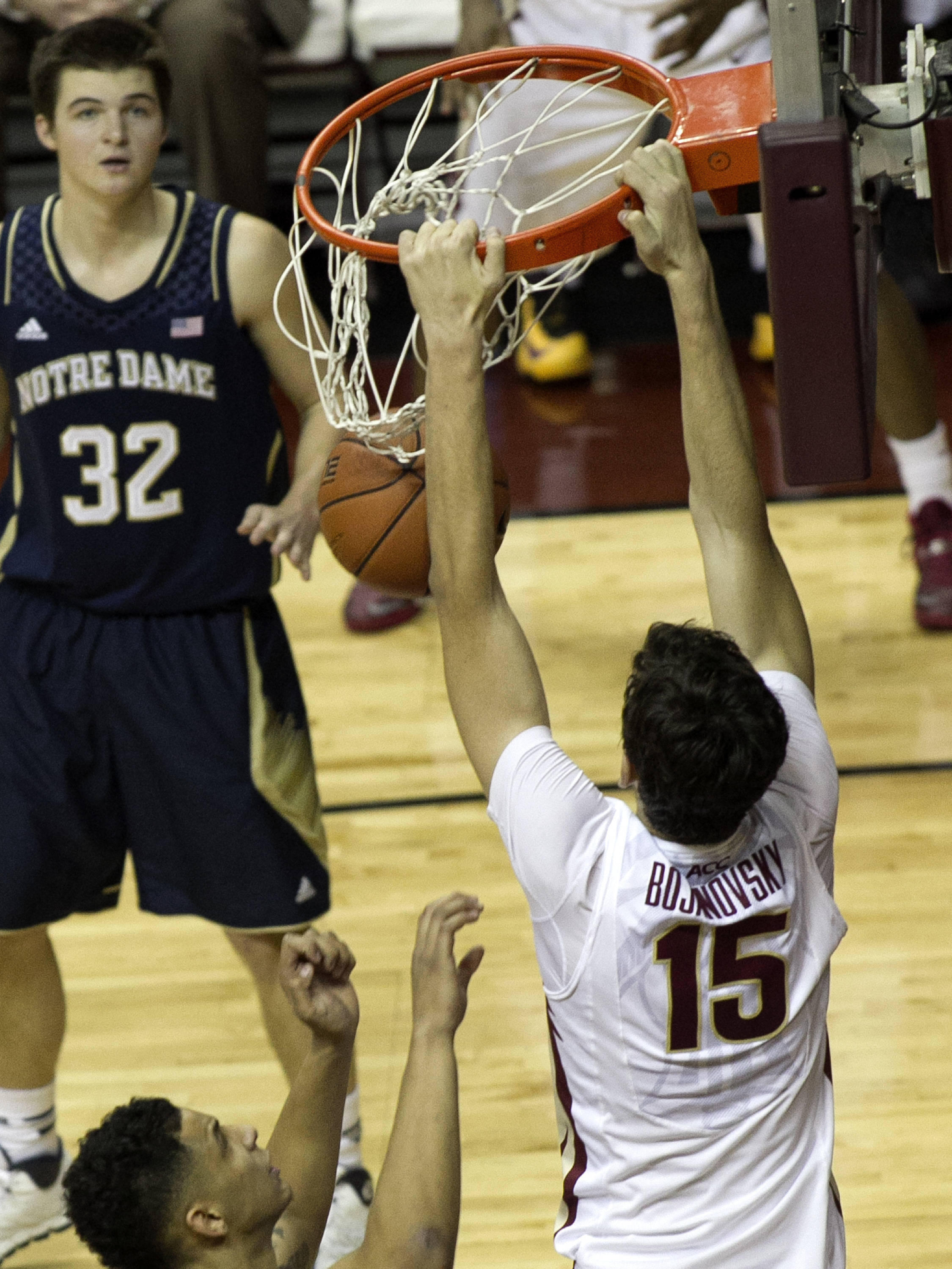 Boris Bojanovsky (15) with a big jam, FSU vs Notre Dame, 1-21-14, (Photo's by Steve Musco)