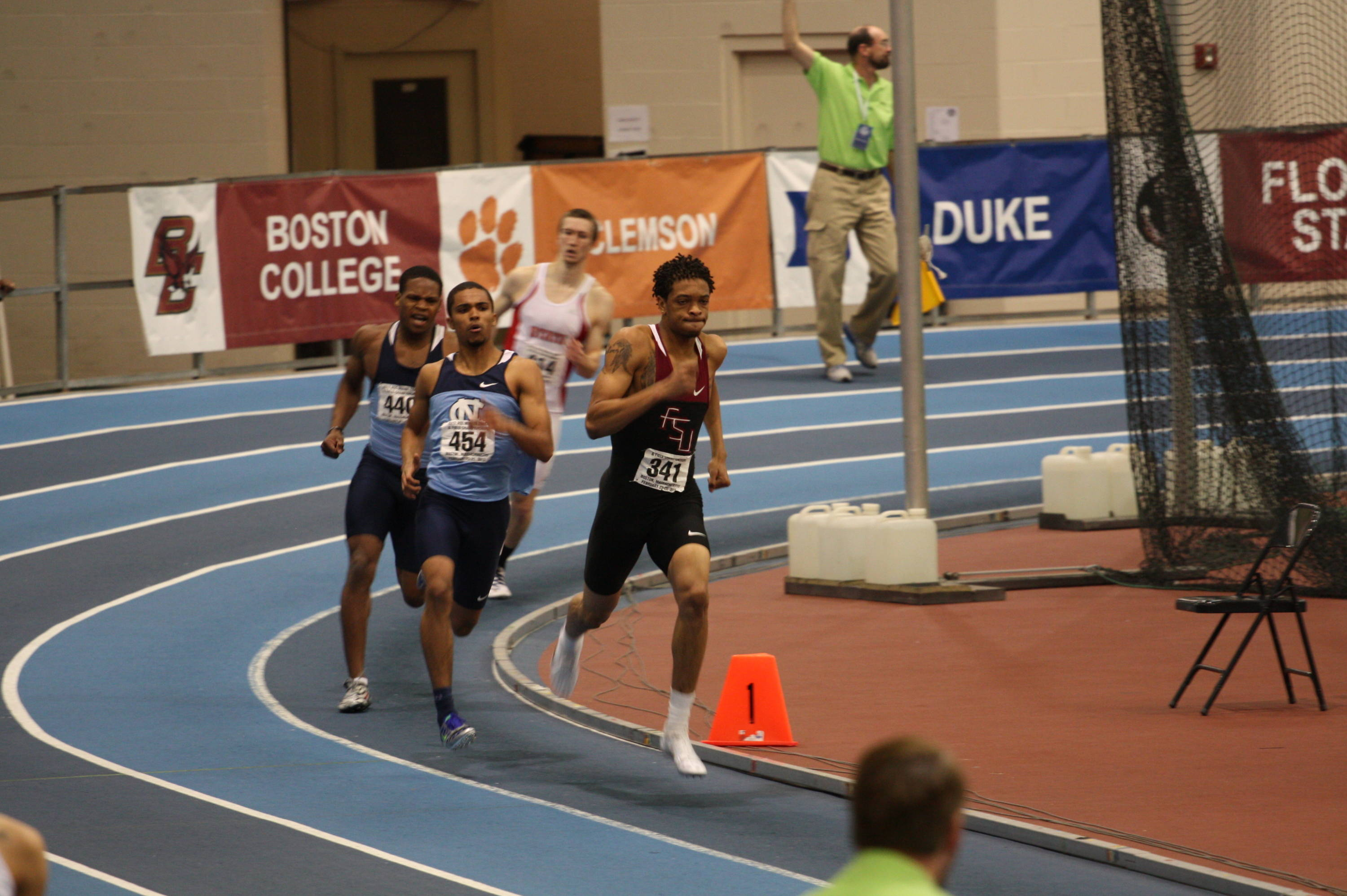 Freshman Stephen Newbold pulls away off the final turn for his first ACC title in the 400m dash.