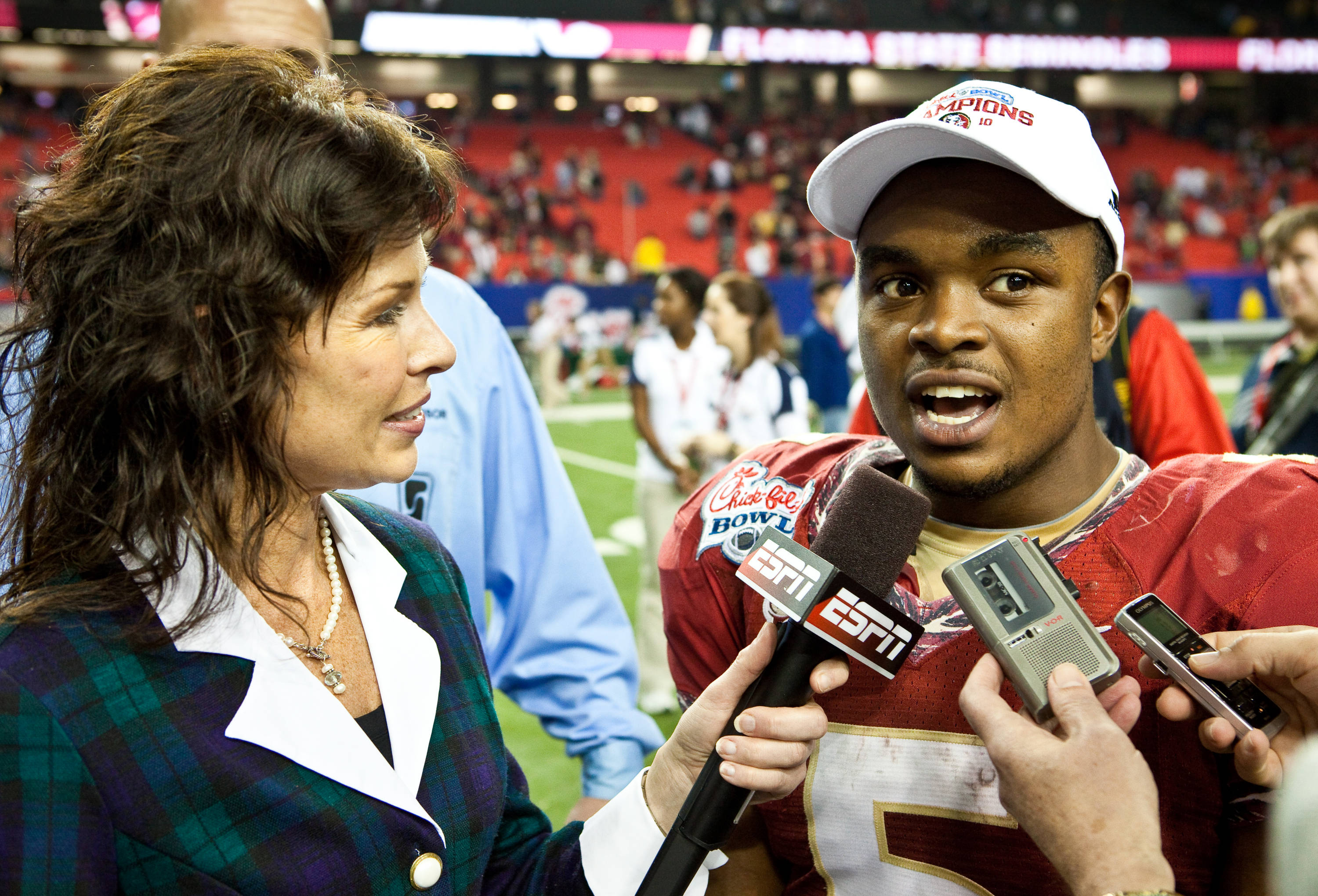 Defensive MVP Greg Reid (5) interviewed after the game