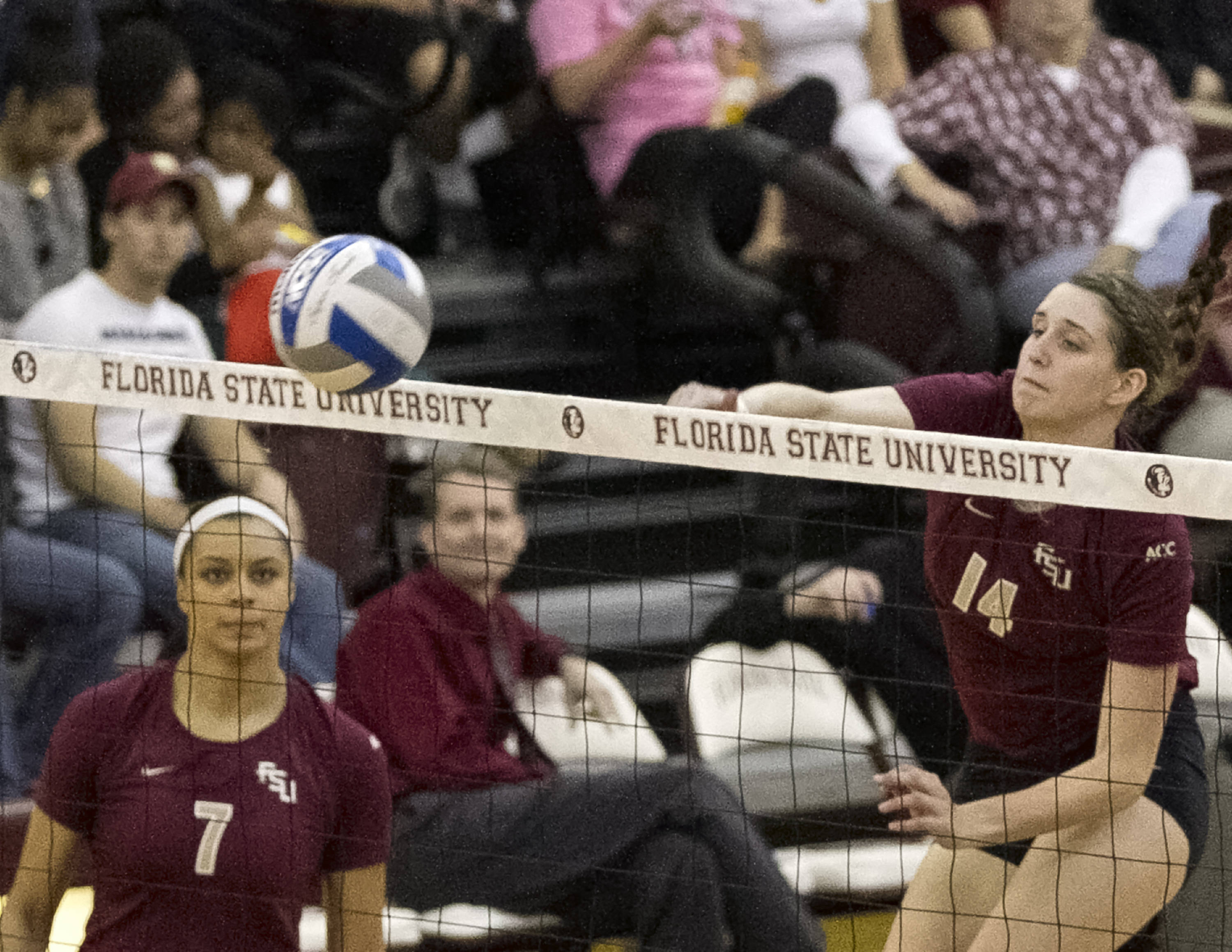 Izzy Carmona (7), Ashley Neff (14), FSU vs Notre Dame, 11-17-13, (Photo by Steve Musco)