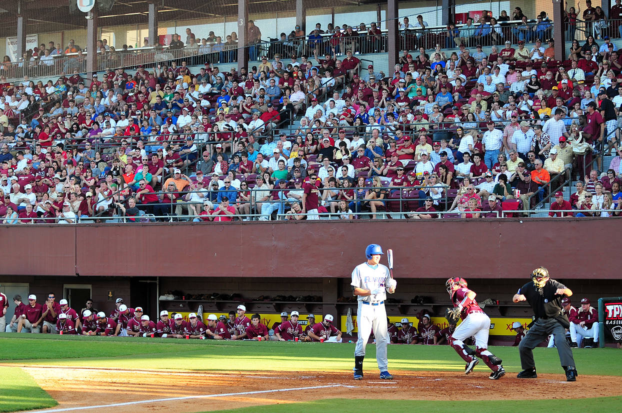 ... including this one, when a Gator was rung up looking at a called third strike, to the delight of a sellout Dick Howser Stadium crowd.