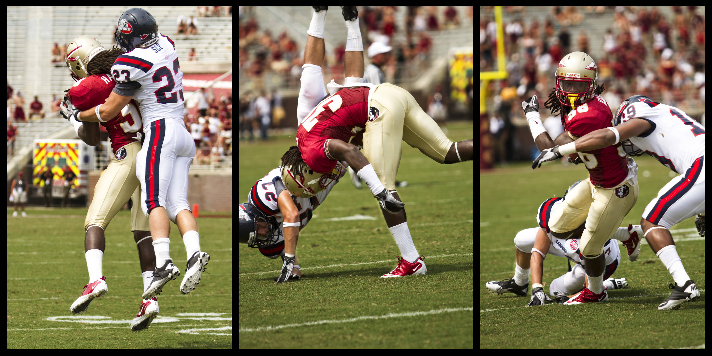 Jared Haggins (36) catches a pass with a Samford defender on his back, throws off the defender, then breaks a tackle.