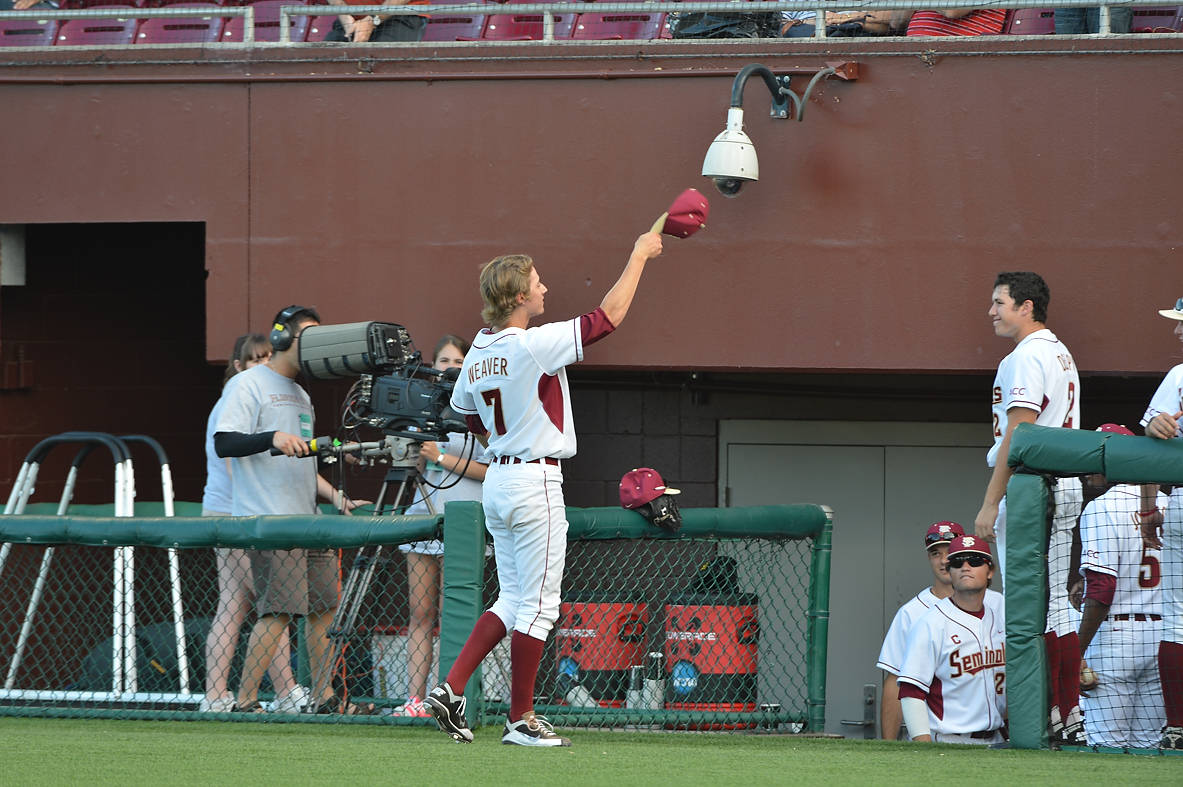 Luke Weaver salutes the crowd after working a career-high 7.0 innings against Stetson Wednesday night.