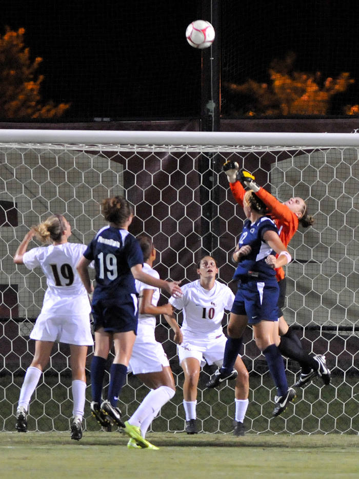 Erin McNulty with one of her two saves on Friday night.