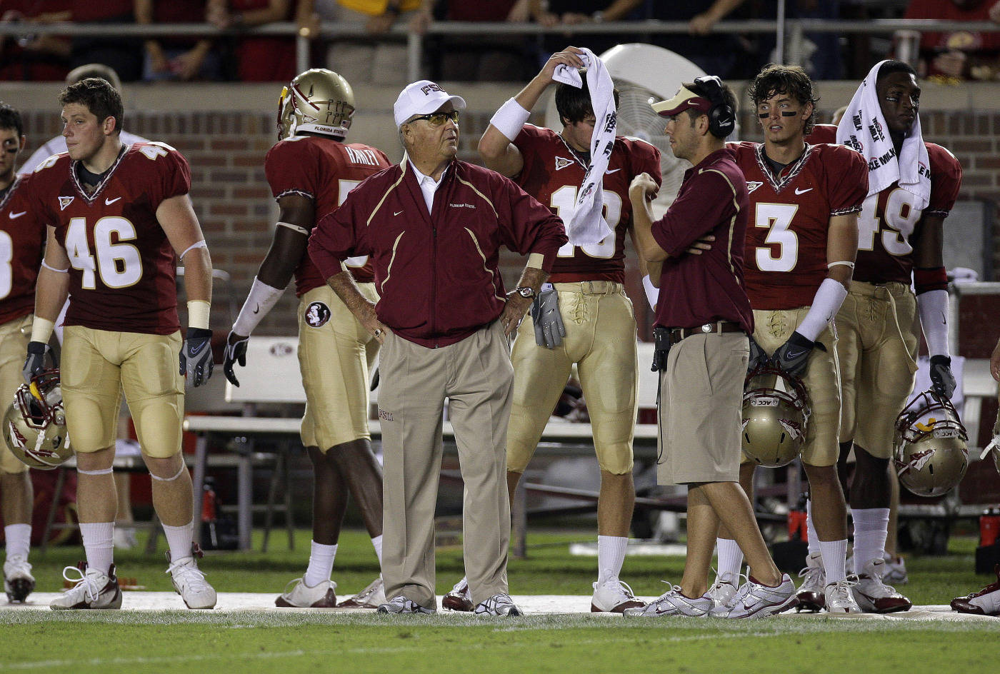 Florida State University head coach Bobby Bowden, center, watches on the sidelines during an NCAA college football game against Georgia Tech, Saturday, Oct. 10, 2009, in Tallahassee, Fla.